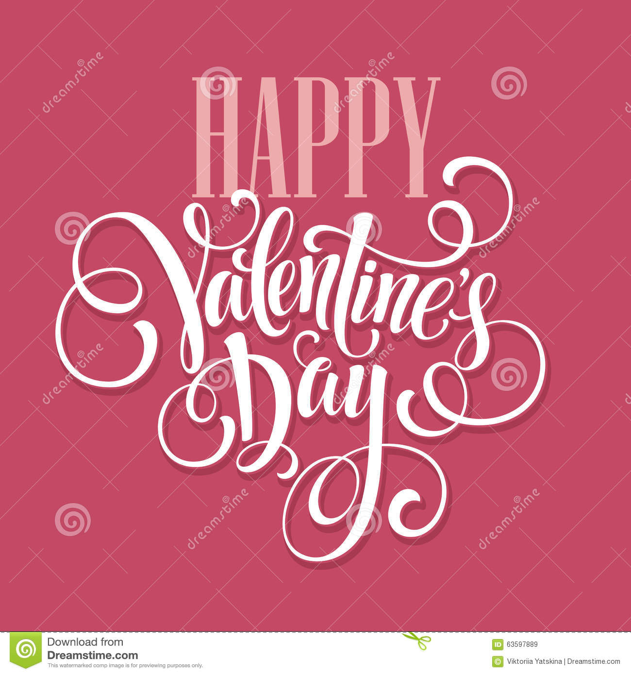 Happy Valentines Day Hand Drawing Lettering Design Stock