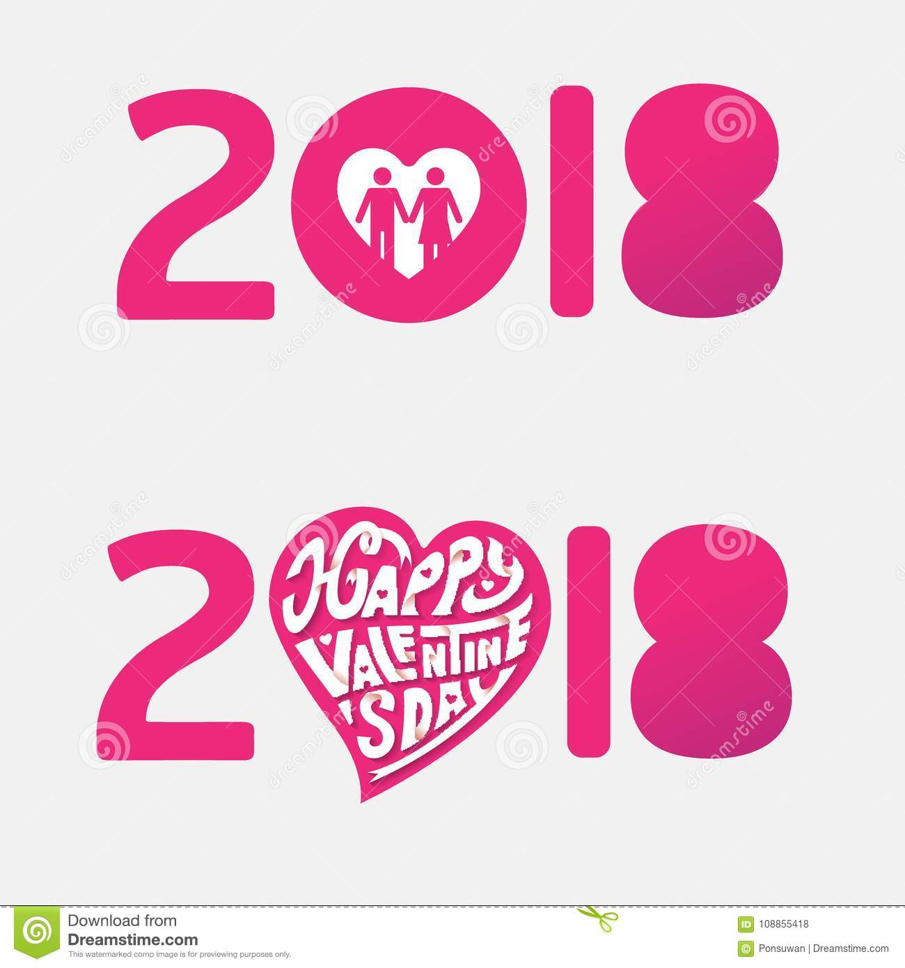 Happy Valentines Day 2018 Hand Drawing Vector Paper Craft Letter