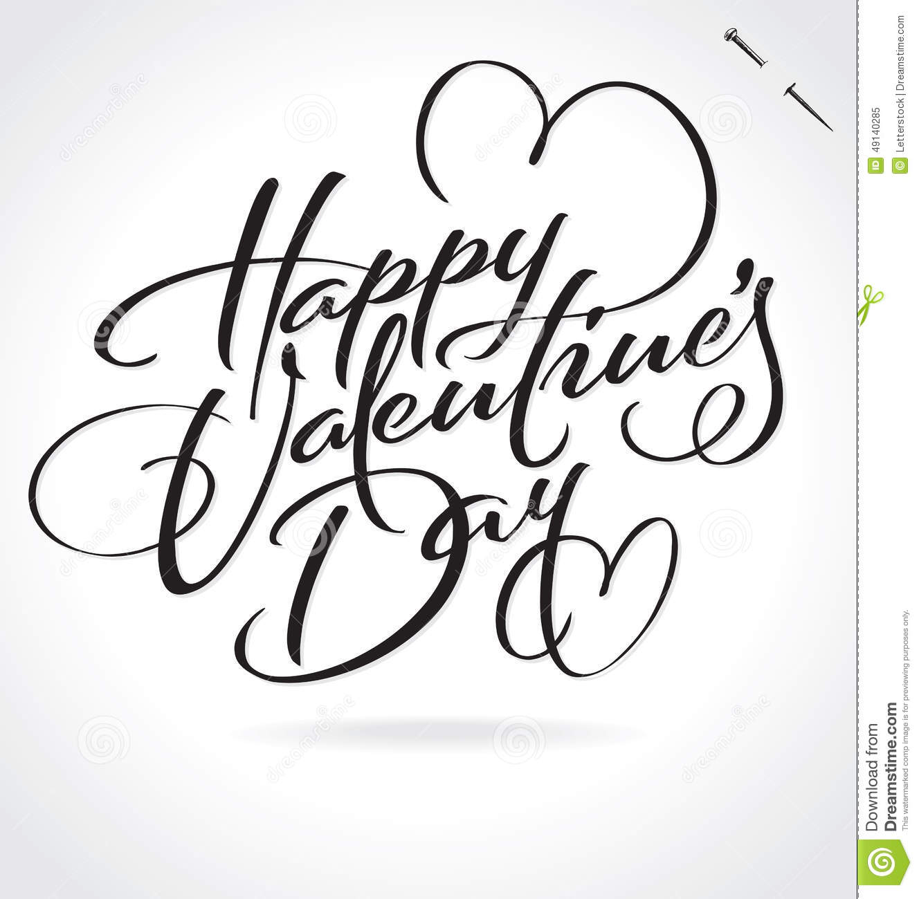 Happy Valentines Day Hand Lettering Vector Stock Vector