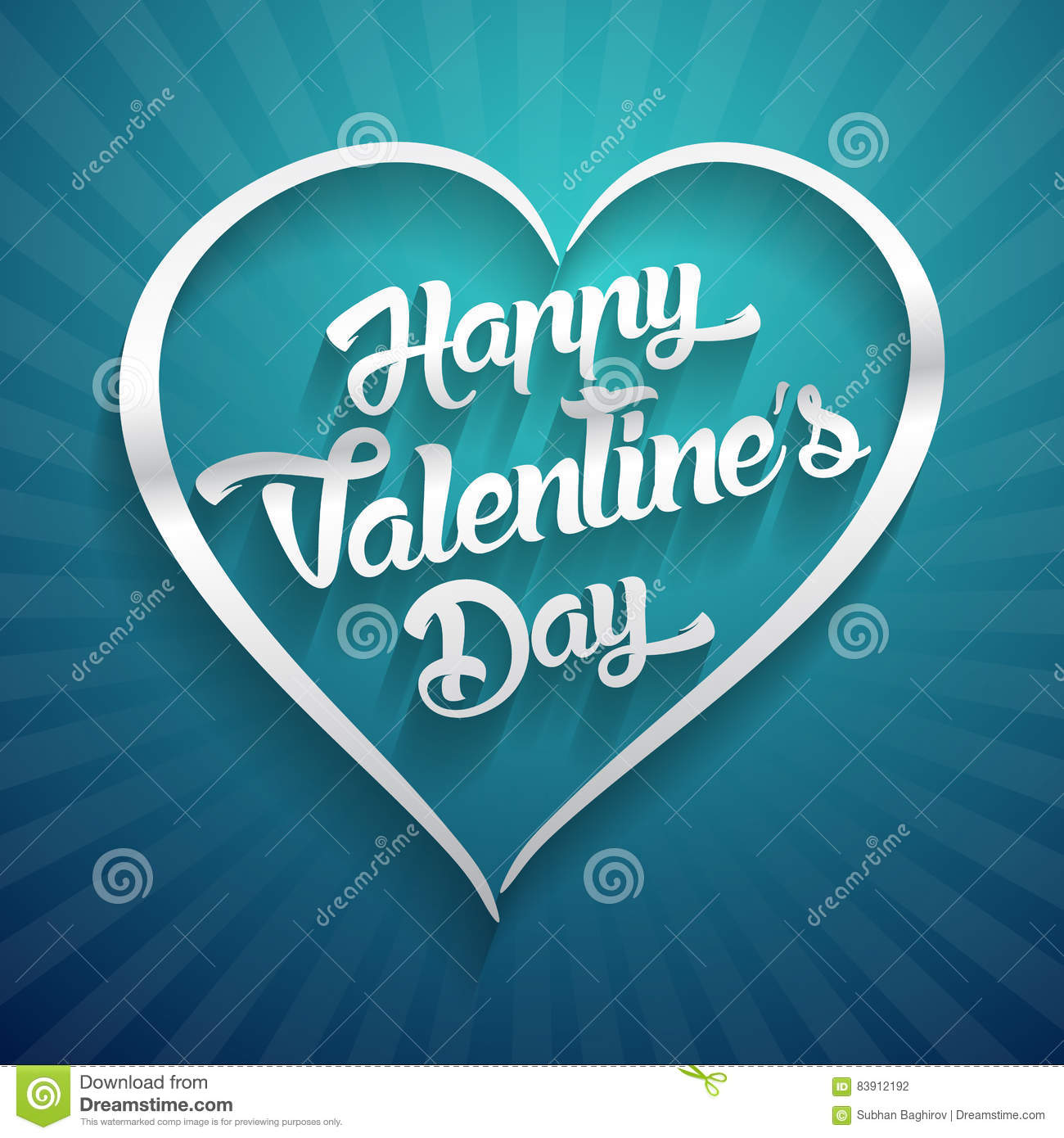 Happy Valentines Day Handwritten Lettering Design Text On Color