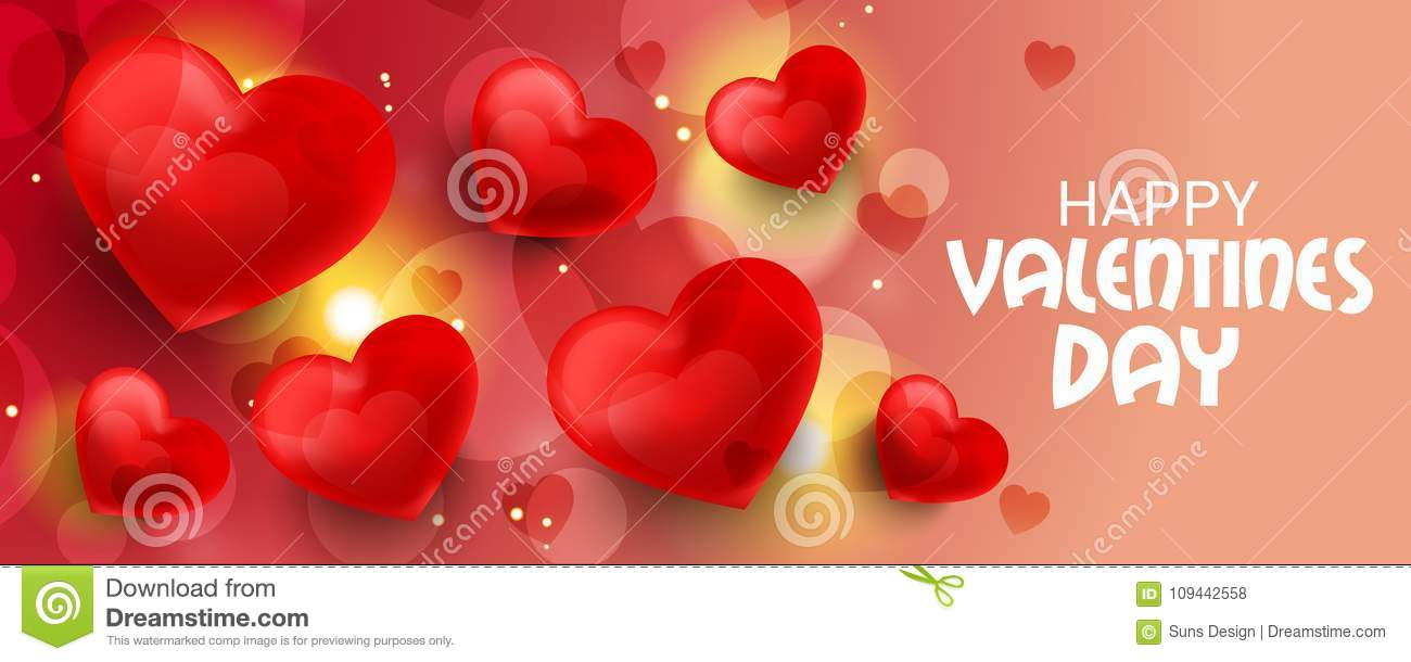 Happy Valentines Day With Hearts Stock Illustration Illustration