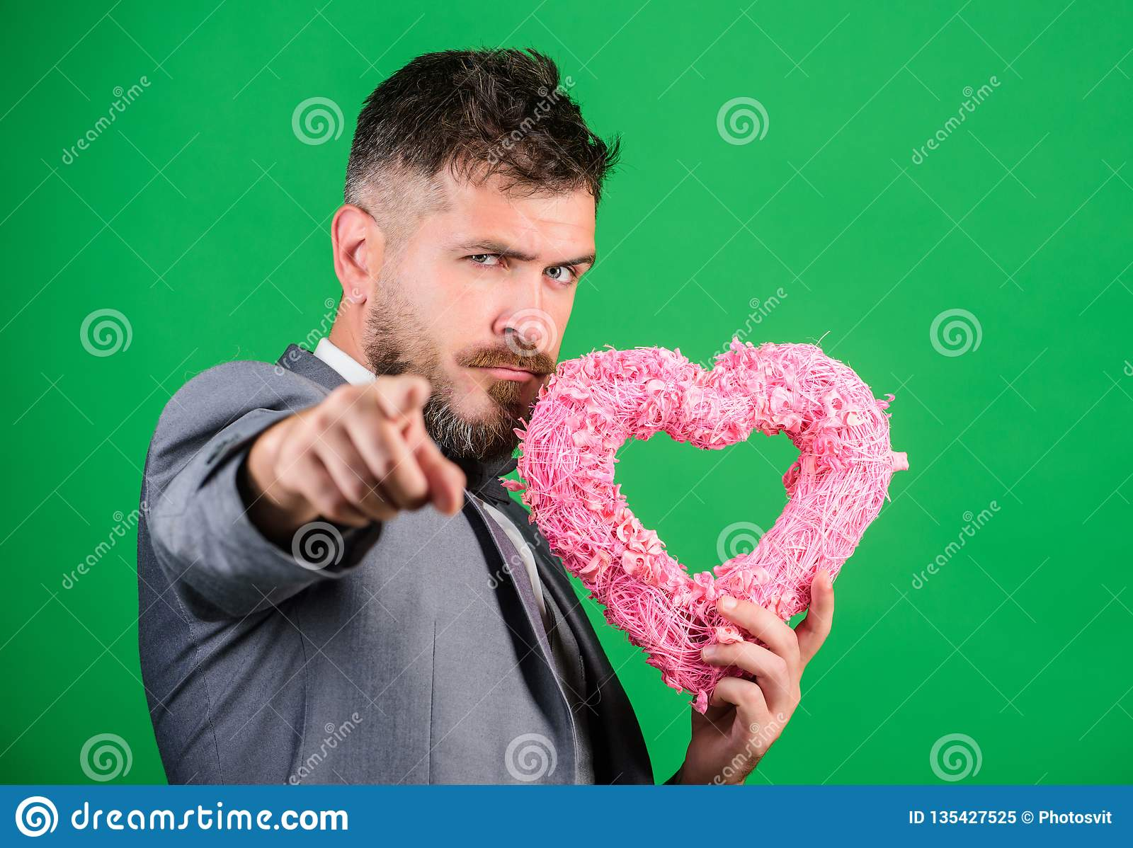 Happy valentines day. Hipster hold heart symbol love. Bring love to family holiday. Romantic surprise. Man in love