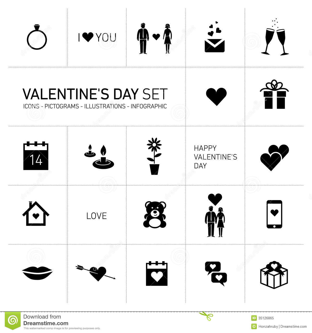 Happy Valentines Day Icons And Pictograms Set Black And White Stock