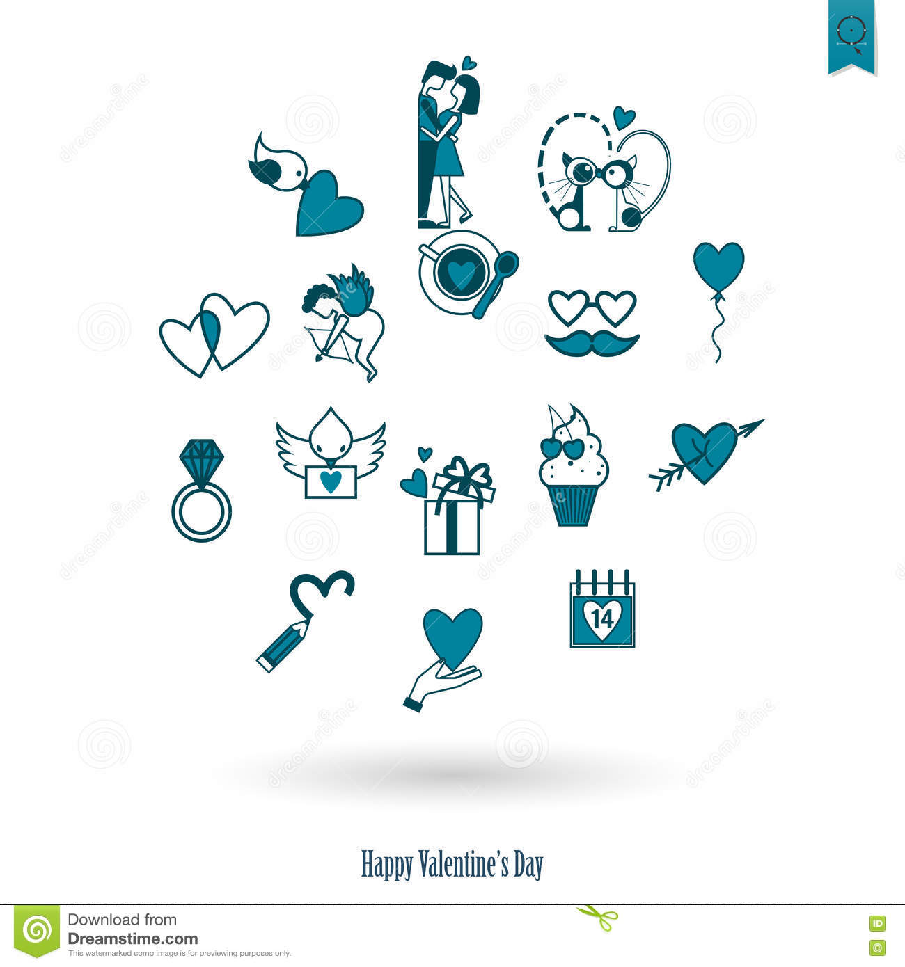 Happy Valentines Day Icons Stock Vector Illustration Of Element