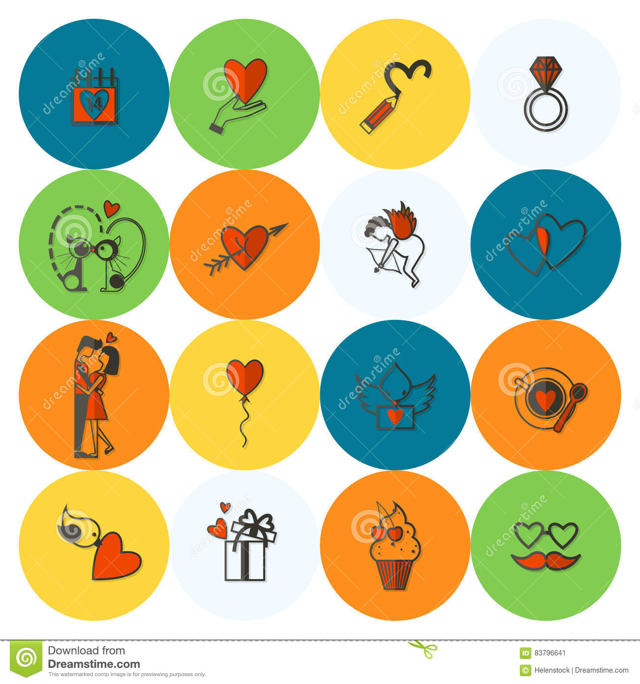 Happy Valentines Day Icons Stock Vector Illustration Of Simple