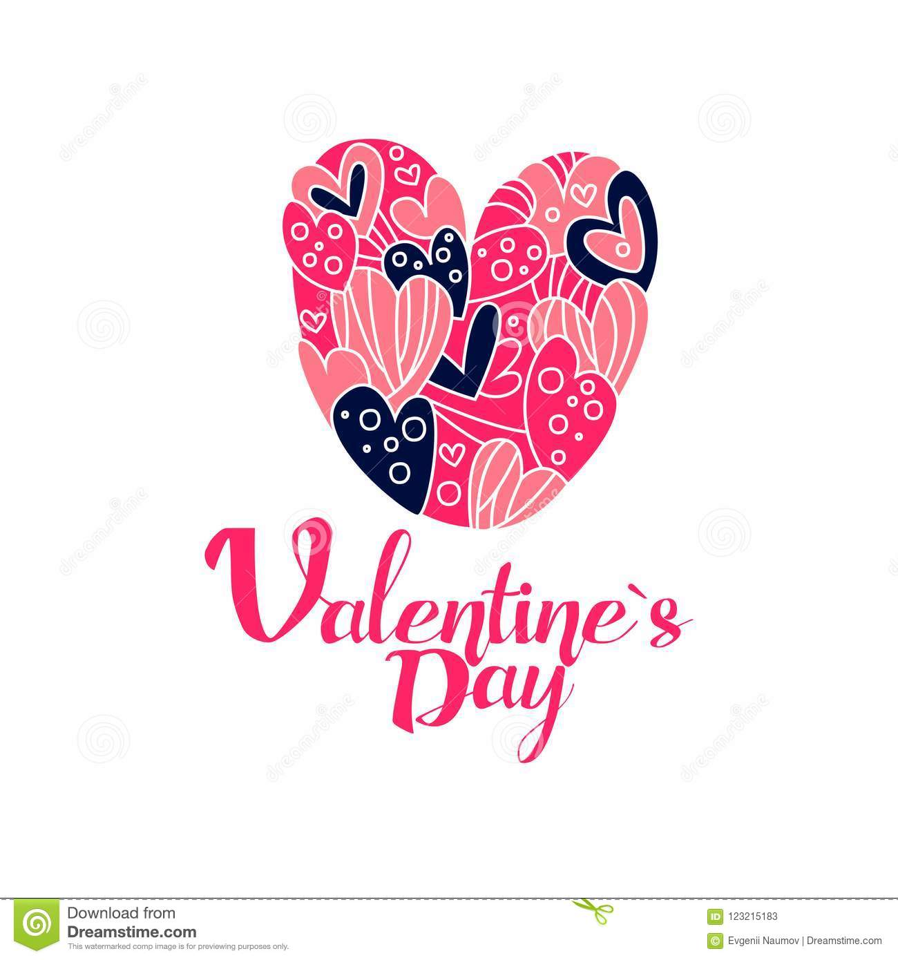 Happy Valentines Day Logo Creative Template For Greeting Card