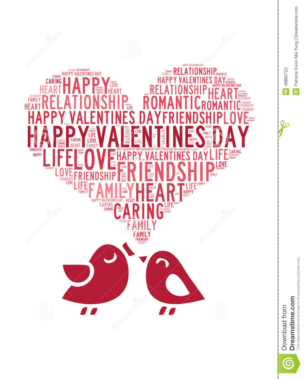 Happy Valentines Day Love Beautiful Card With Cute Love Couple Birds