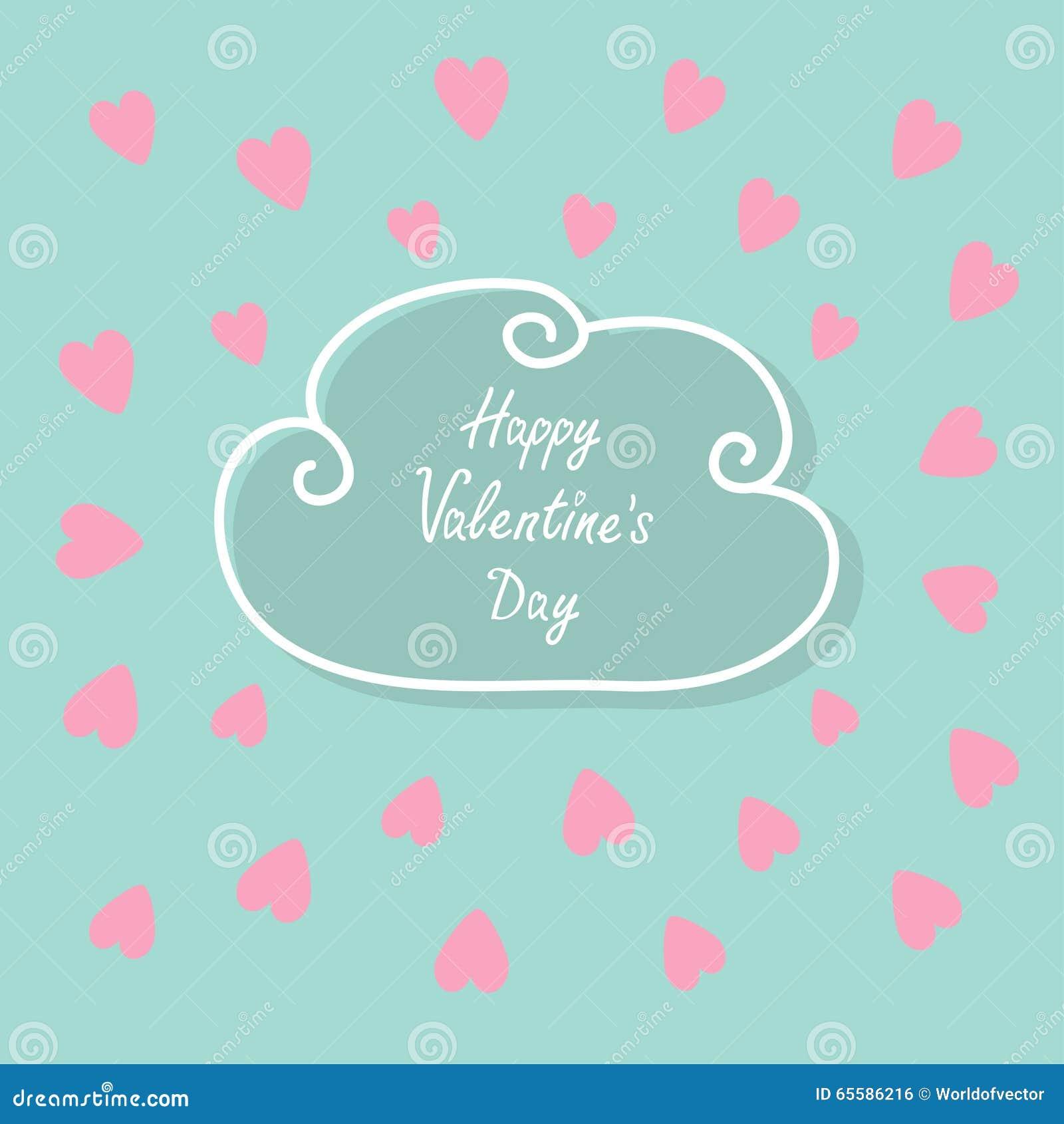 Happy Valentines Day. Love card. Cloud contour line frame. Heart set. Flat design Pink, blue color background
