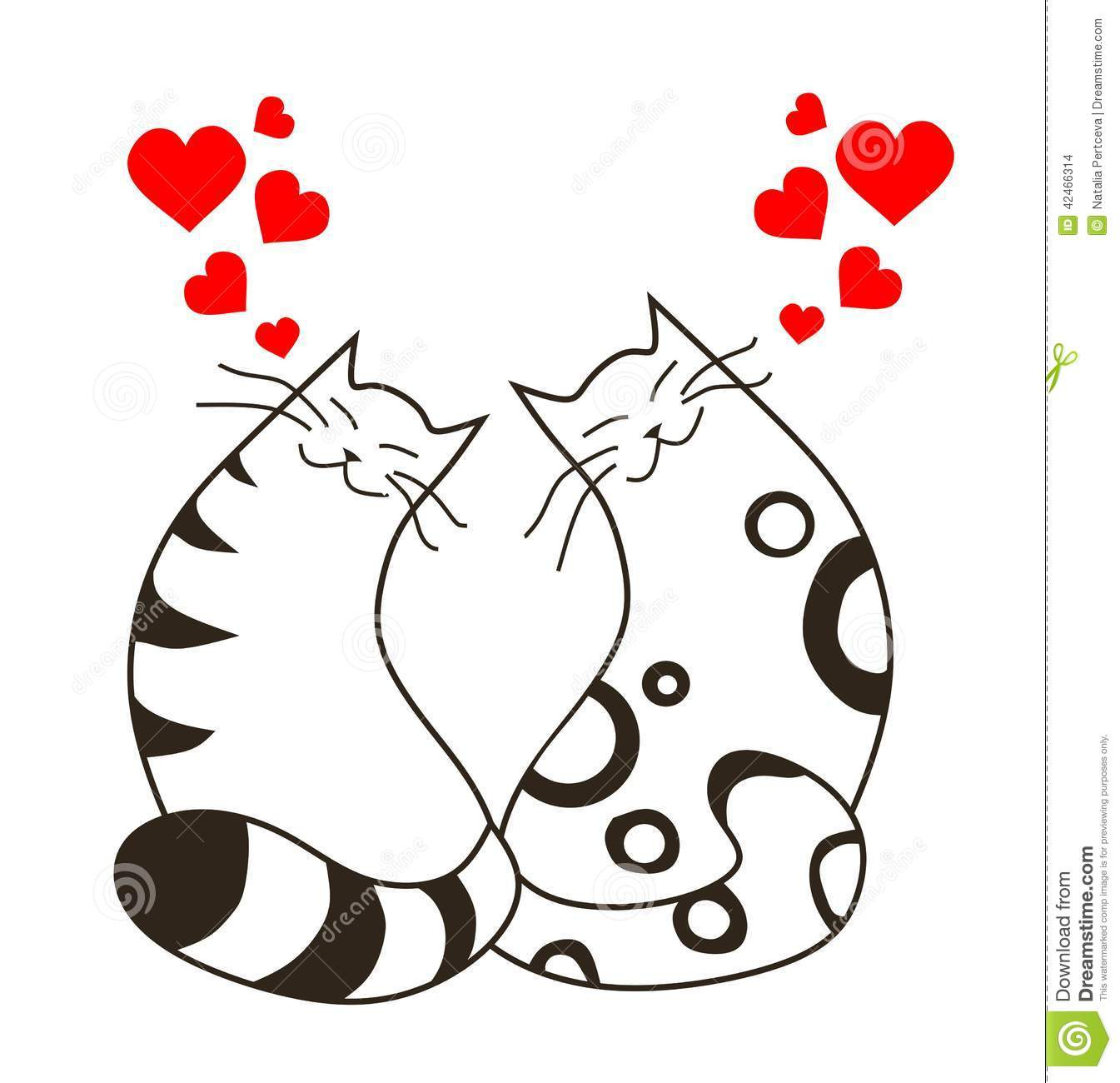 Line Drawing Valentine : Happy valentines day love cats stock vector illustration