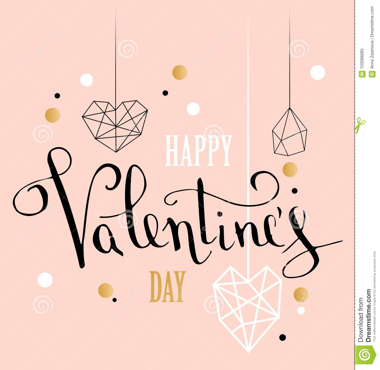 Happy valentines day love greeting card with white low poly style heart shape in golden glitter background