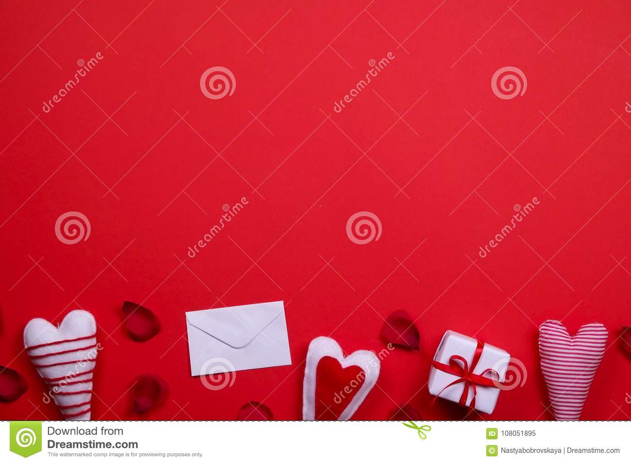Happy Valentines Day / Love Symbols Concept On Bright Red Background ...