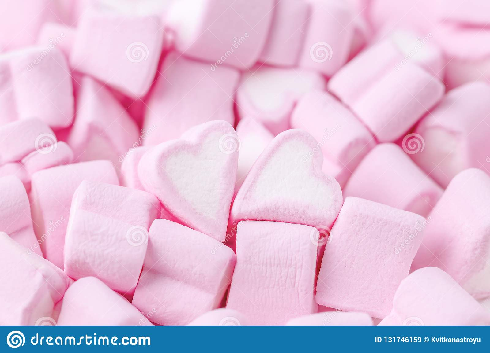 Happy Valentines day. Love theme. Pink sweet marshmallow hearts. Valentine`s day background