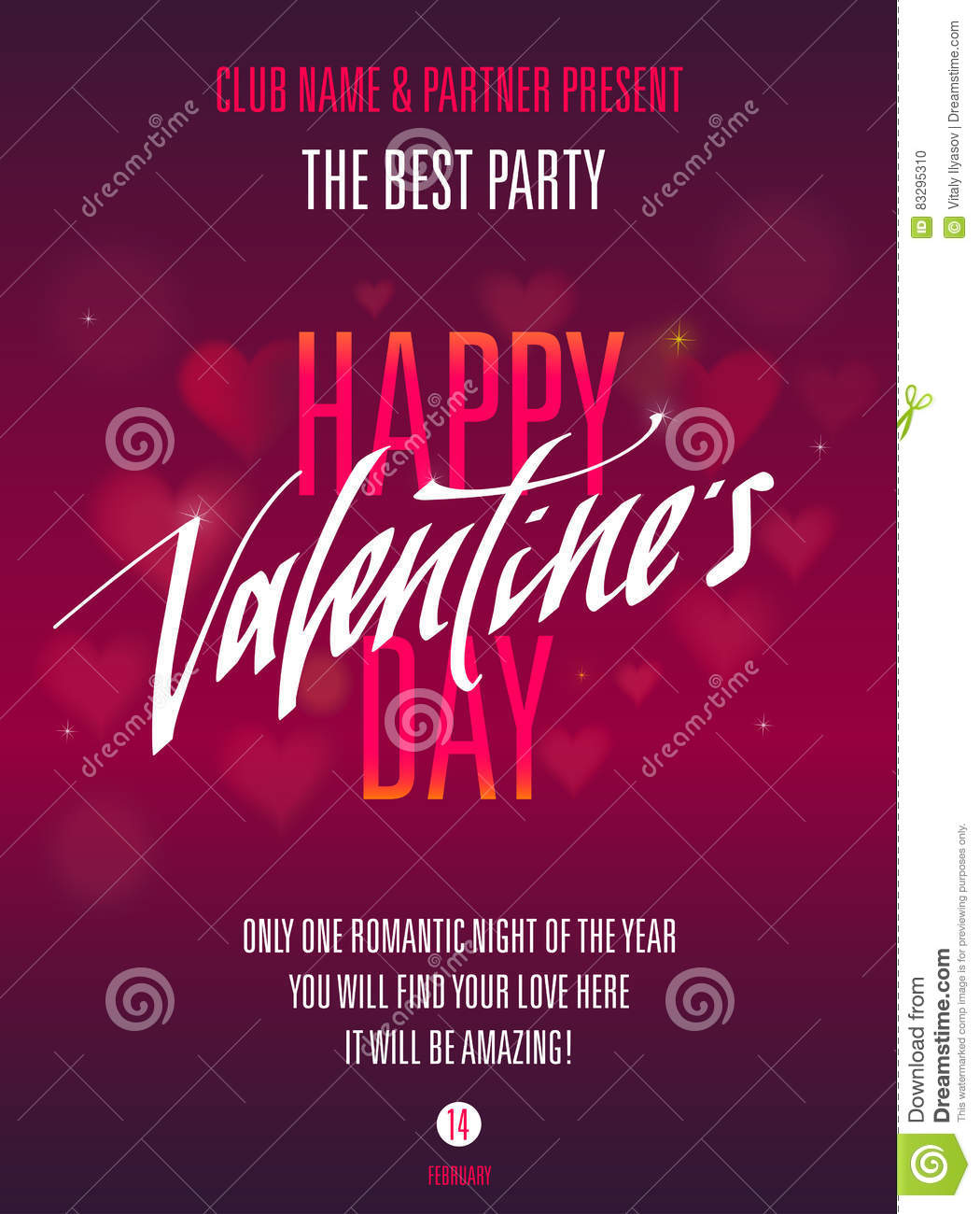 Happy Valentines Day Party Invitation For Flyer Poster Greeting