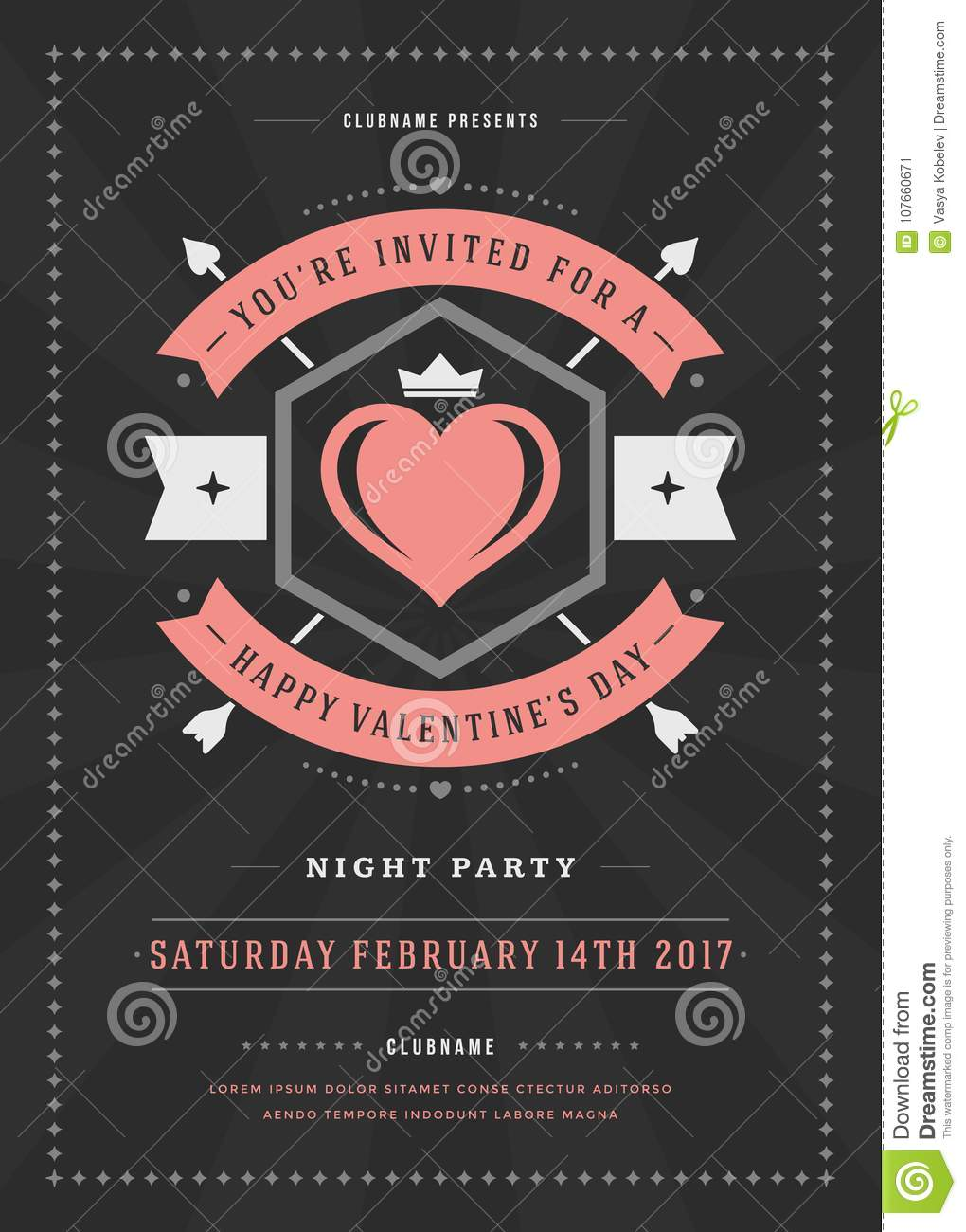 Happy valentines day party invitation or poster vector illustration download comp stopboris Image collections