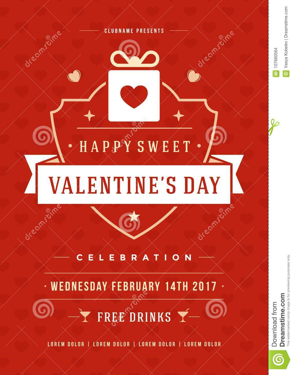 Happy Valentines Day Party Invitation Or Poster Vector Illustration