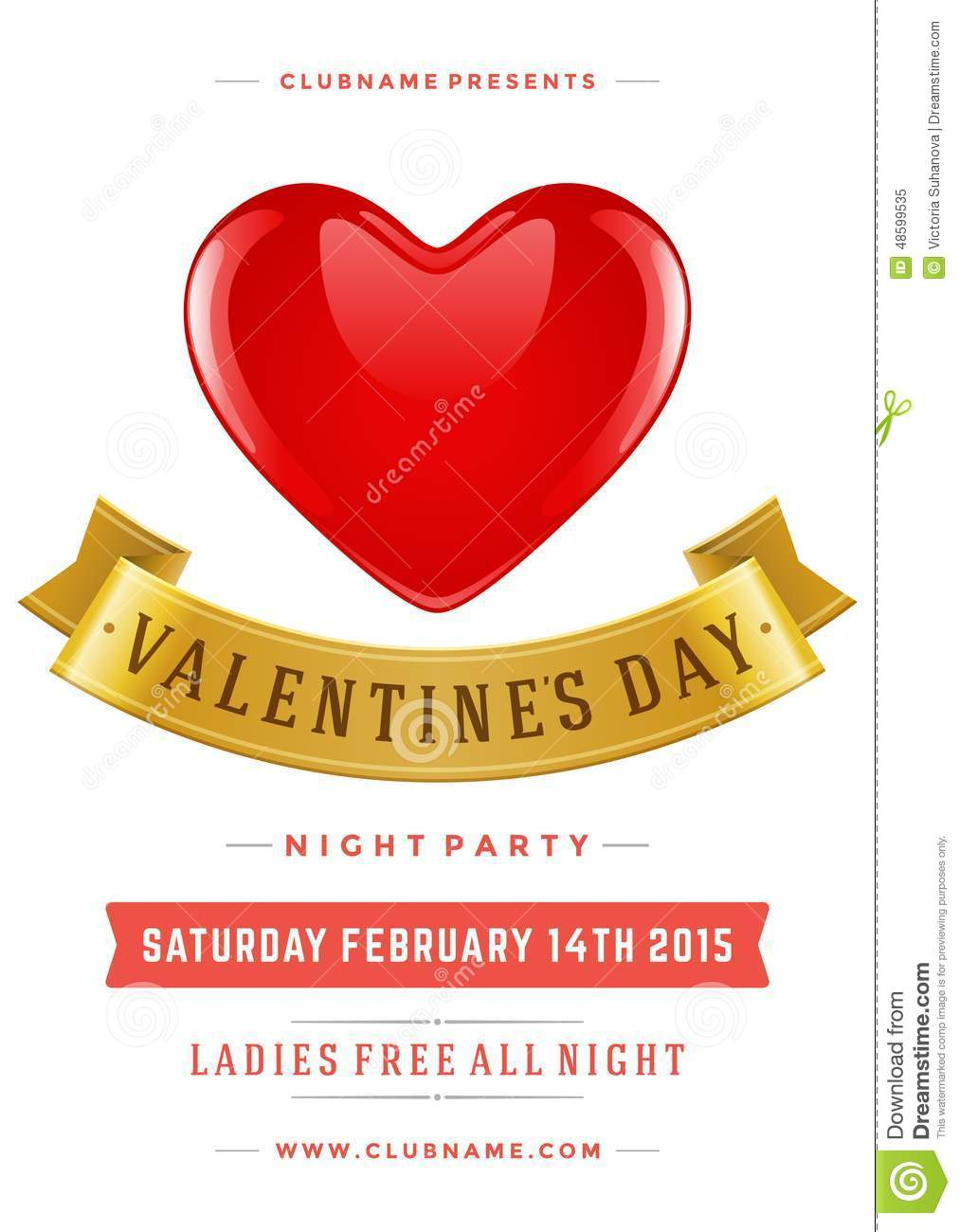 happy valentines day party poster design template stock illustration illustration 48599535. Black Bedroom Furniture Sets. Home Design Ideas