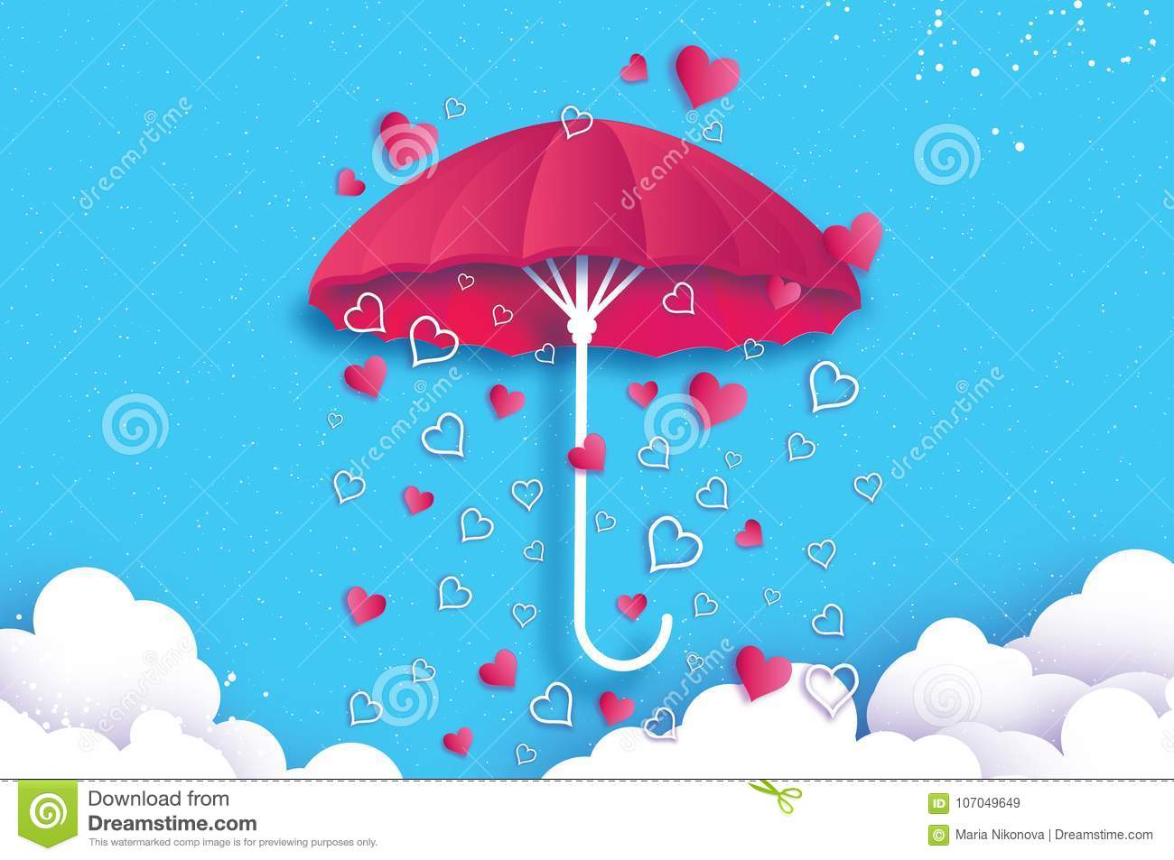 Happy Valentines Day Pink Umbrella Air With Love Raining Origami