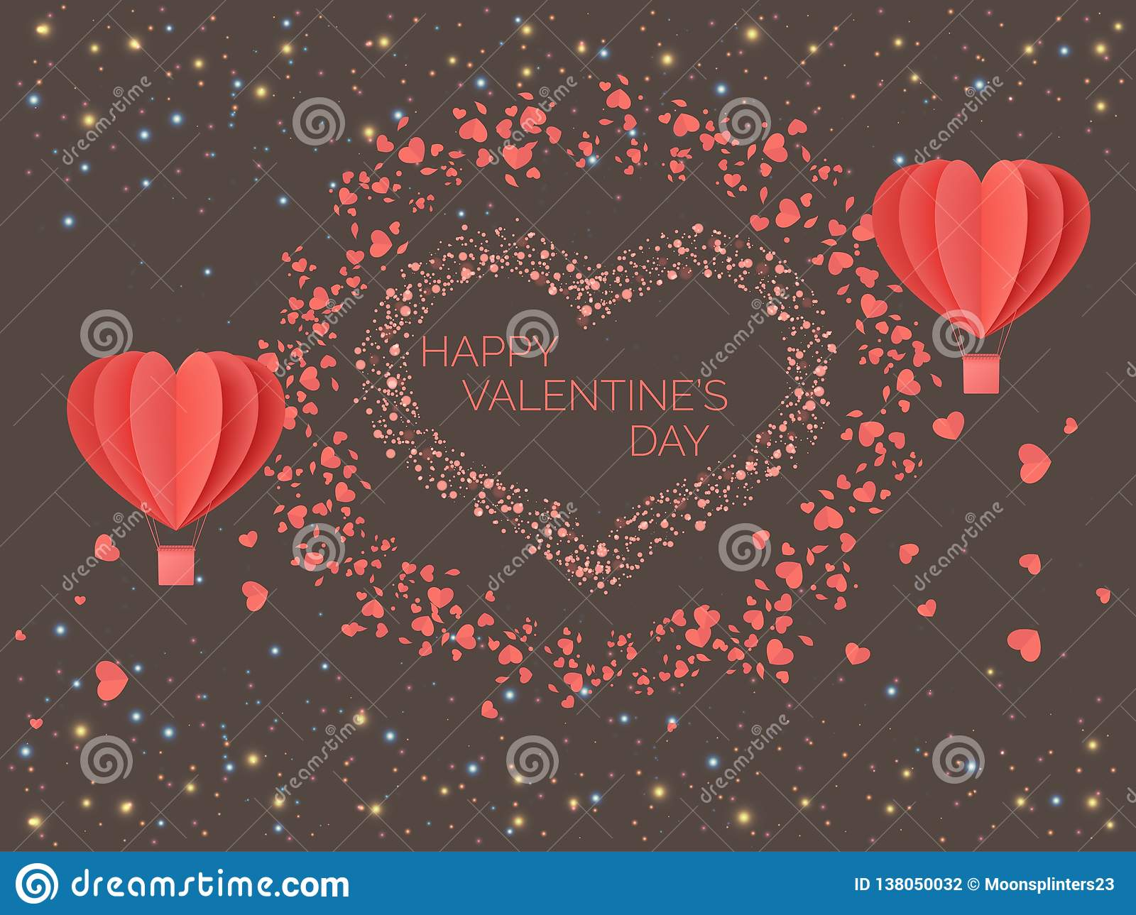 Happy valentines day. Red coral colored hearts in the form of balloons against the background of lights of multicolored particles.