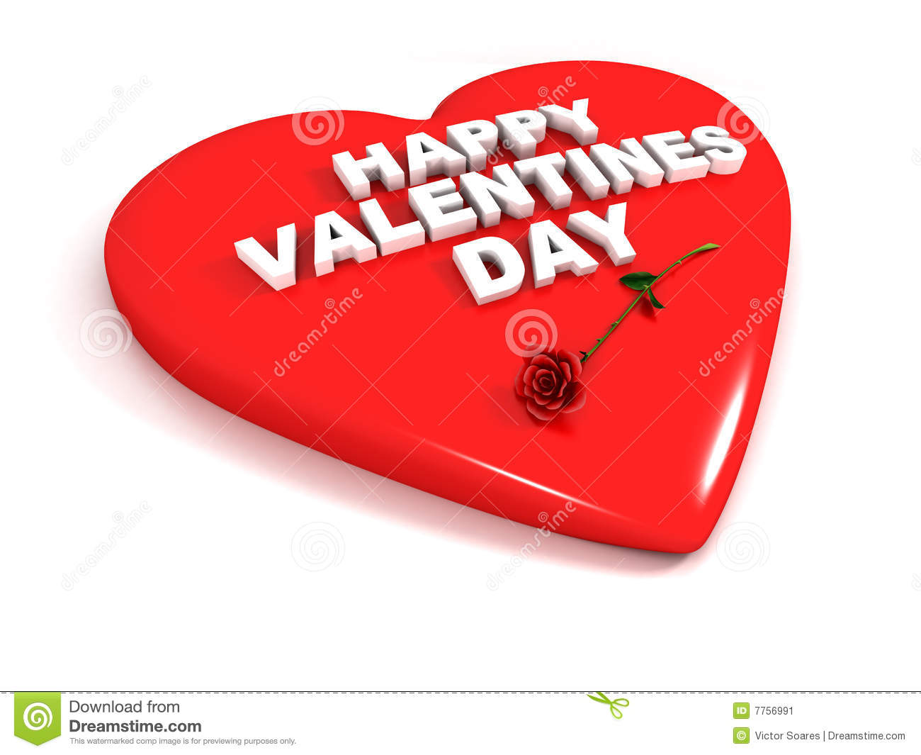 Happy Valentines Day - Red Heart And Rose Stock Illustration ...