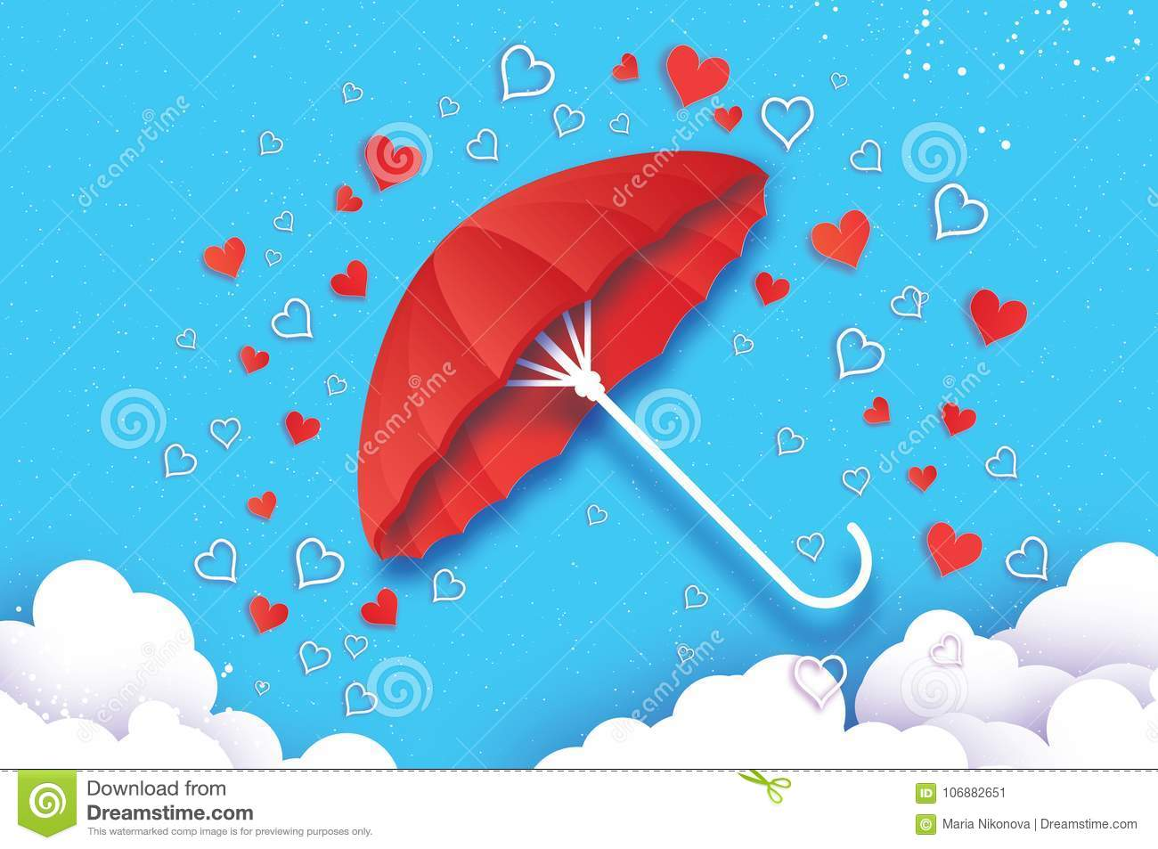 Happy Valentines Day Red Umbrella Air With Love Raining Origami