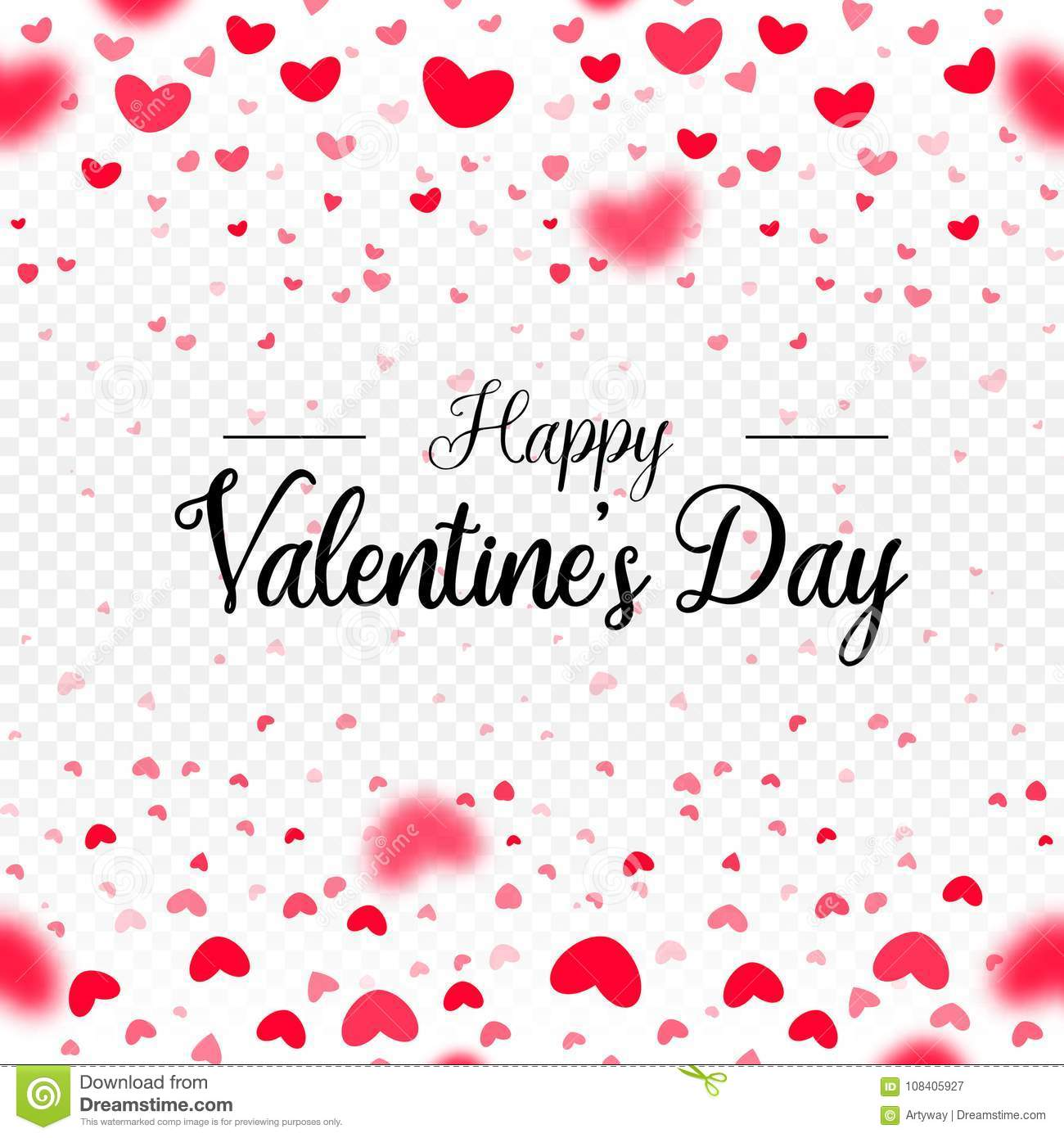 Happy Valentines Day Red Vector Paper Hearts Falling Card Border