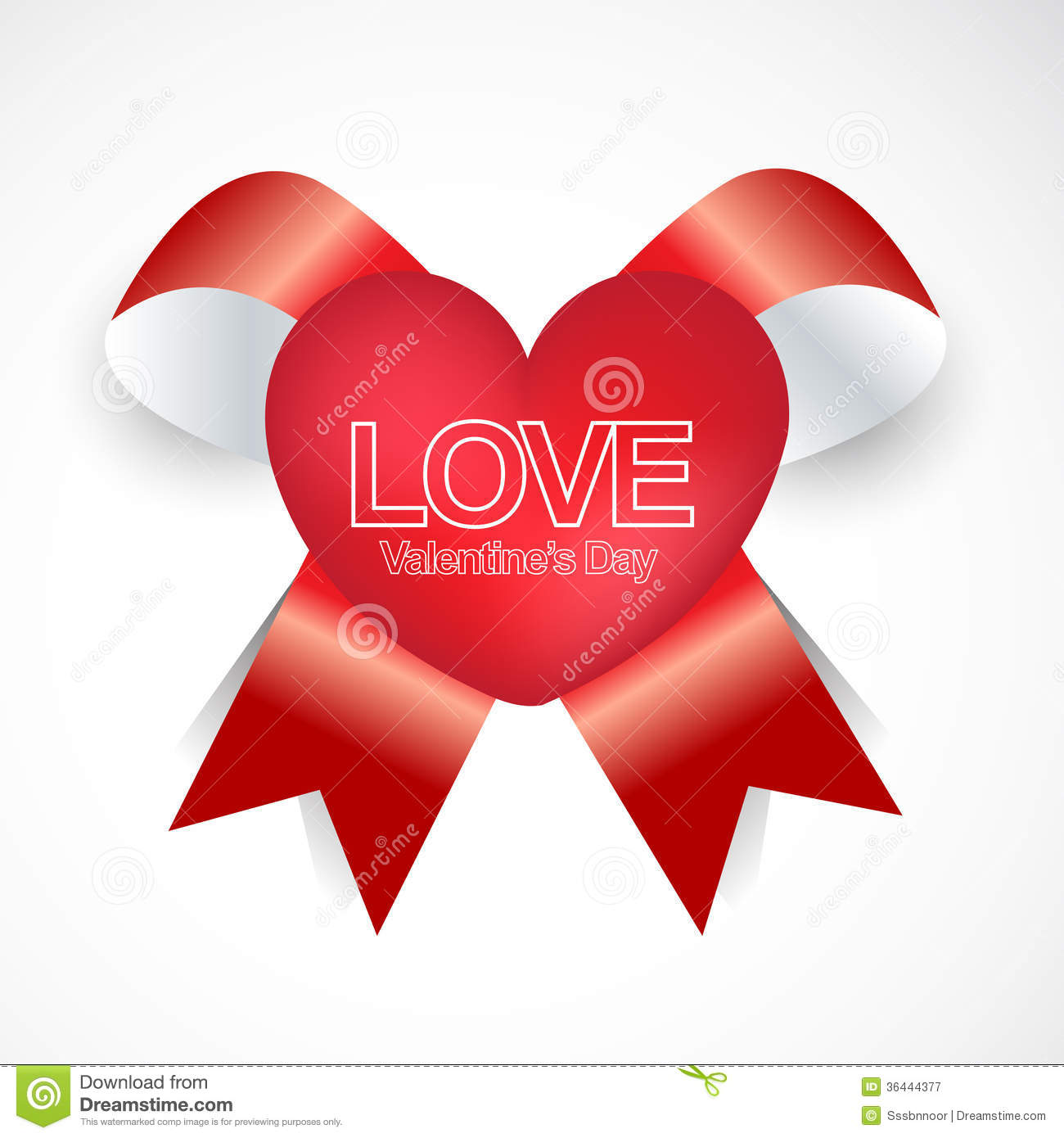 Happy Valentines Day Ribbon Style Stock Vector Illustration Of