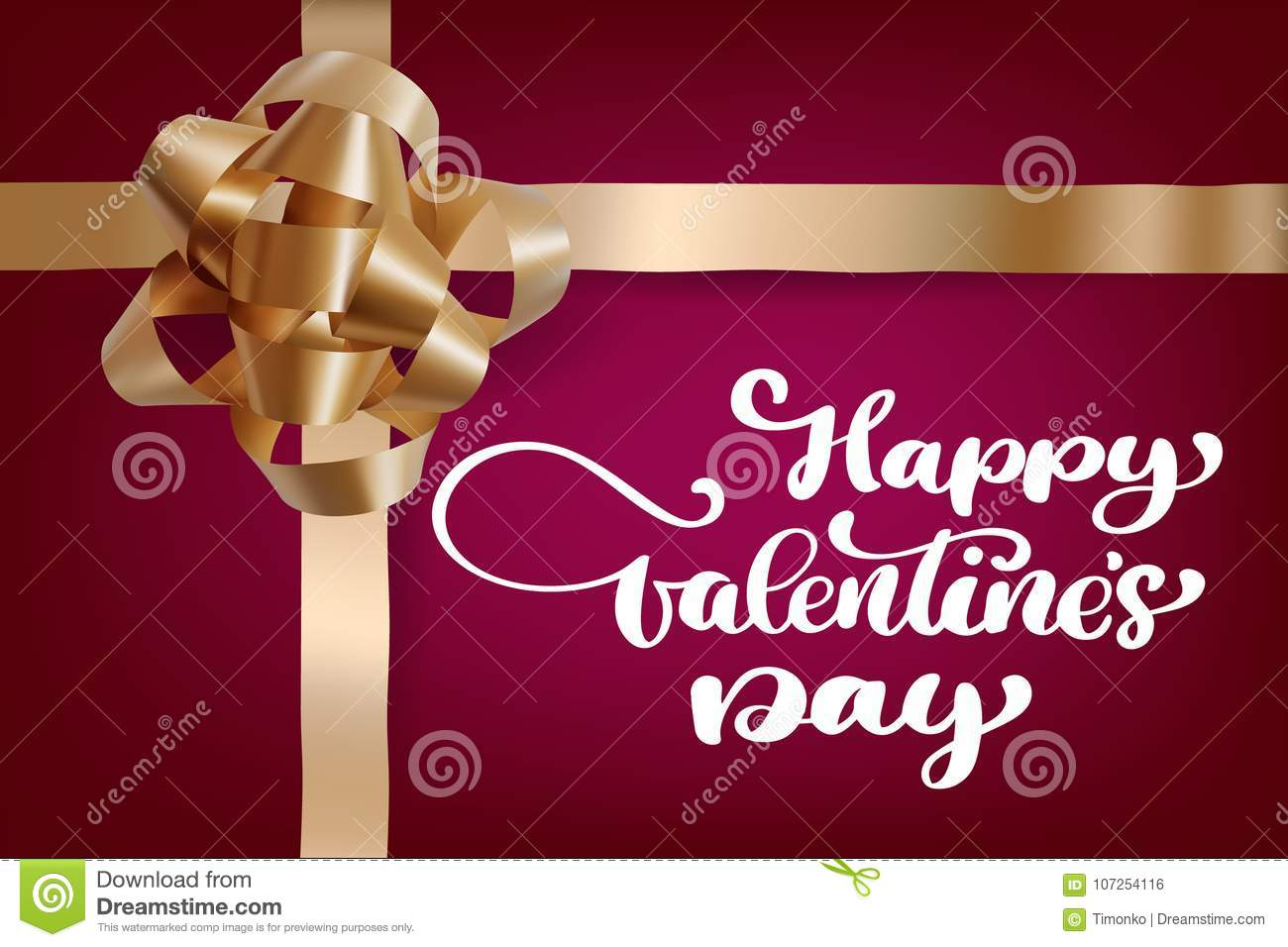 Happy Valentines Day Romantic Greeting Card With A Realistic Gift