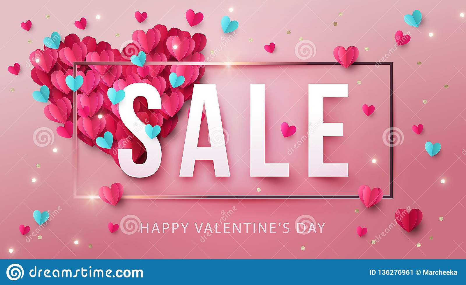Happy Valentines Day Sale Banner, poster or flyer design with big heart made of pink and blue origami hearts