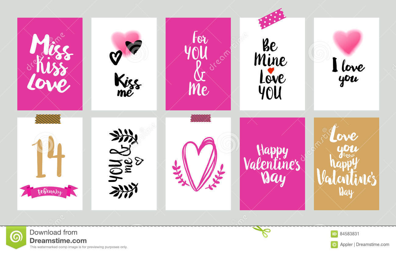 Happy Valentines Day Set Stock Vector Illustration Of Inspiration