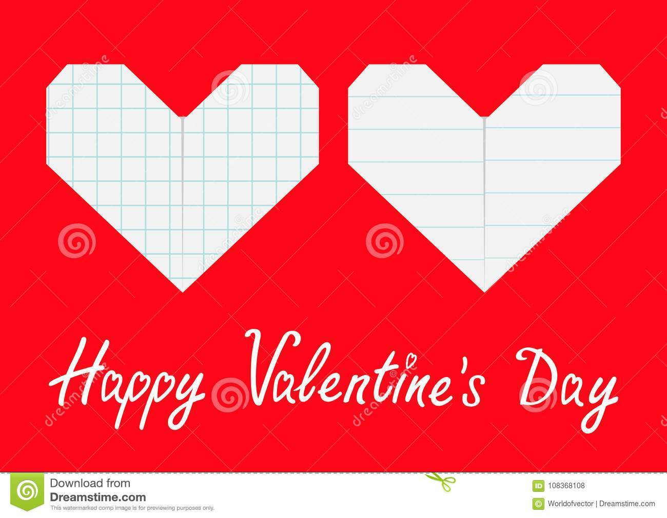 Happy Valentines Day Sign Symbol Notebook Squared Lined Paper Heart