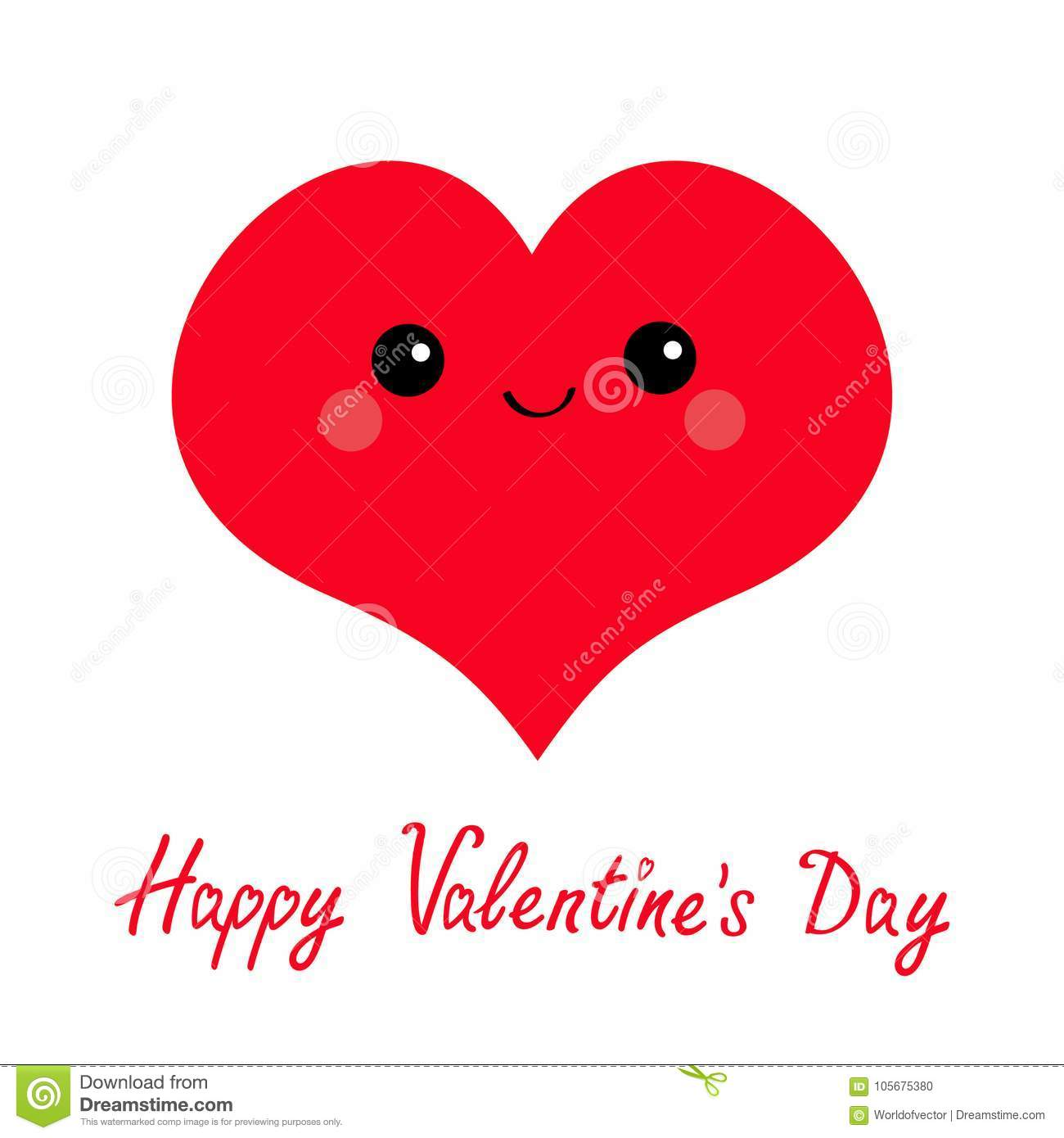 Happy Valentines Day Sign Symbol Red Heart Face Head Cute Stock