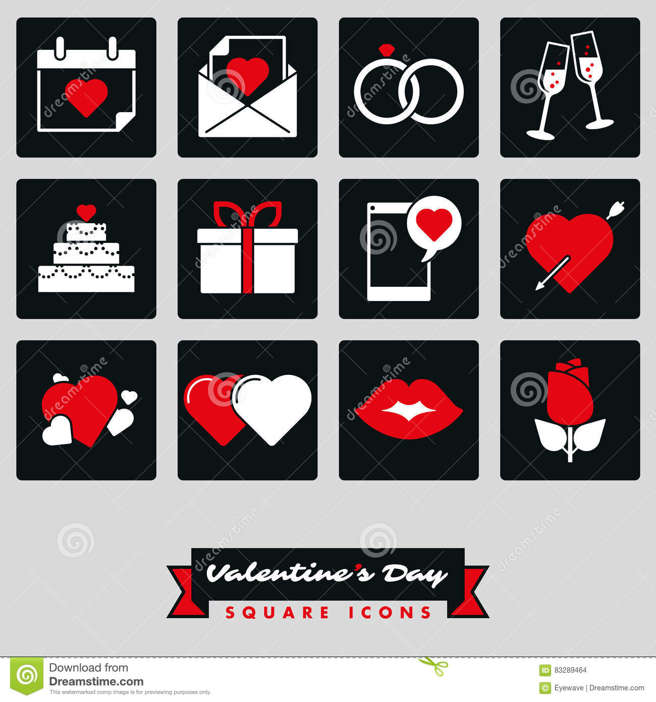 Happy Valentines Day Square Two Color Icon Set Stock Vector