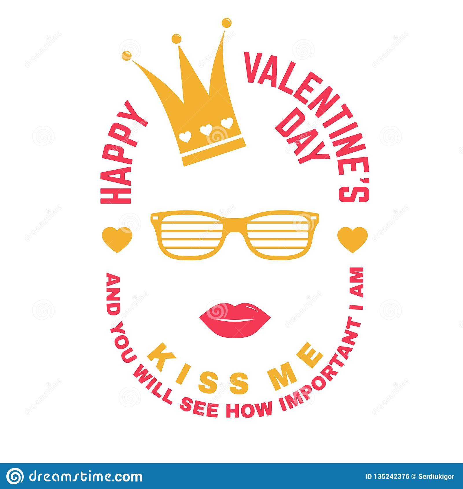 Stamp Overlay Badge Sticker Card With Crown Lips And Glasses Vector Vintage Typography Design For Invitations Valentines Day Romantic Celebration