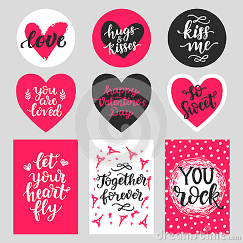 5ed9e900164 Happy Valentines Day typography set with hand drawn lettering. Vector  calligraphy for greeting cards
