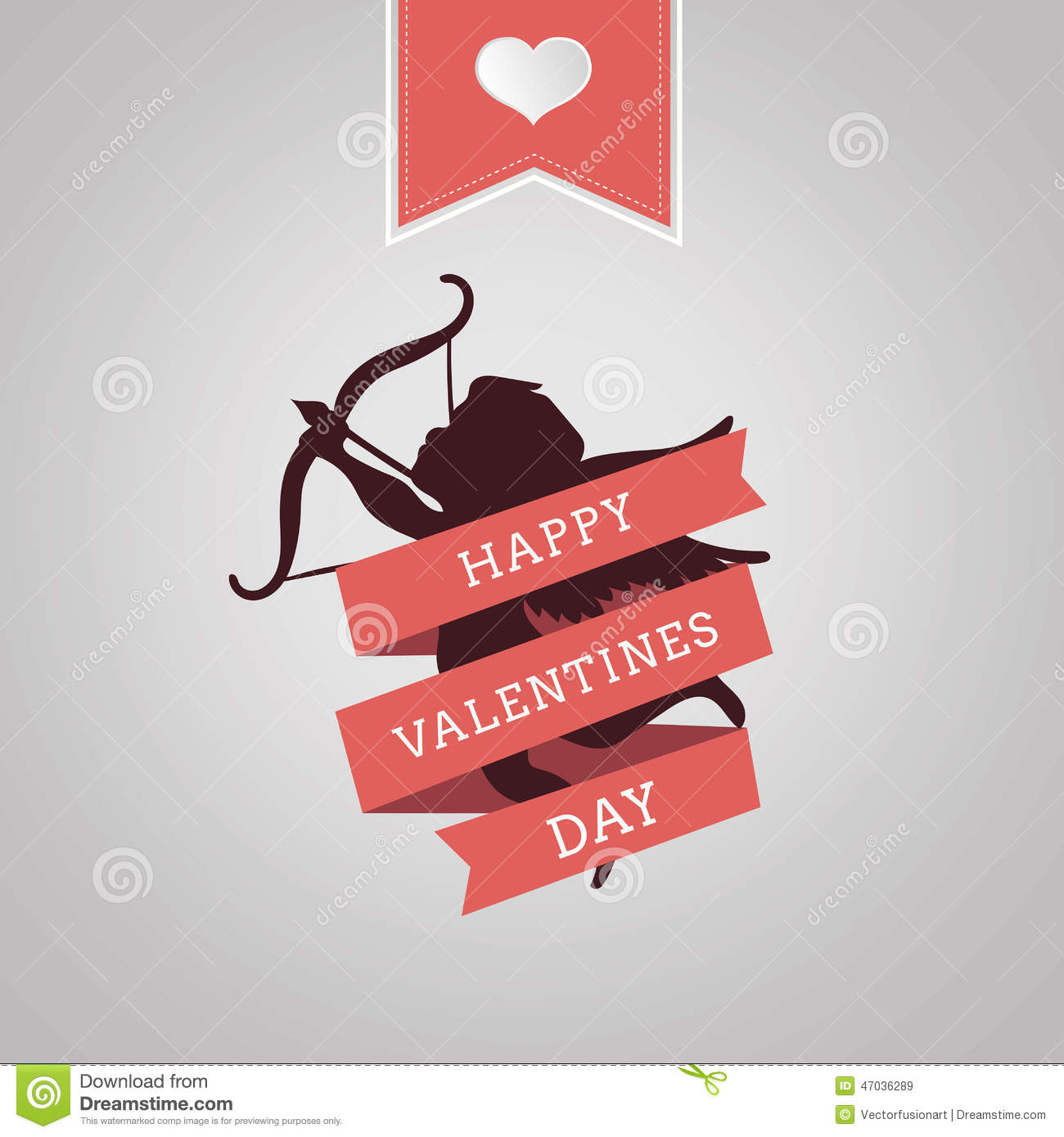 Happy Valentines Day Vector With Cupid Stock Vector Illustration