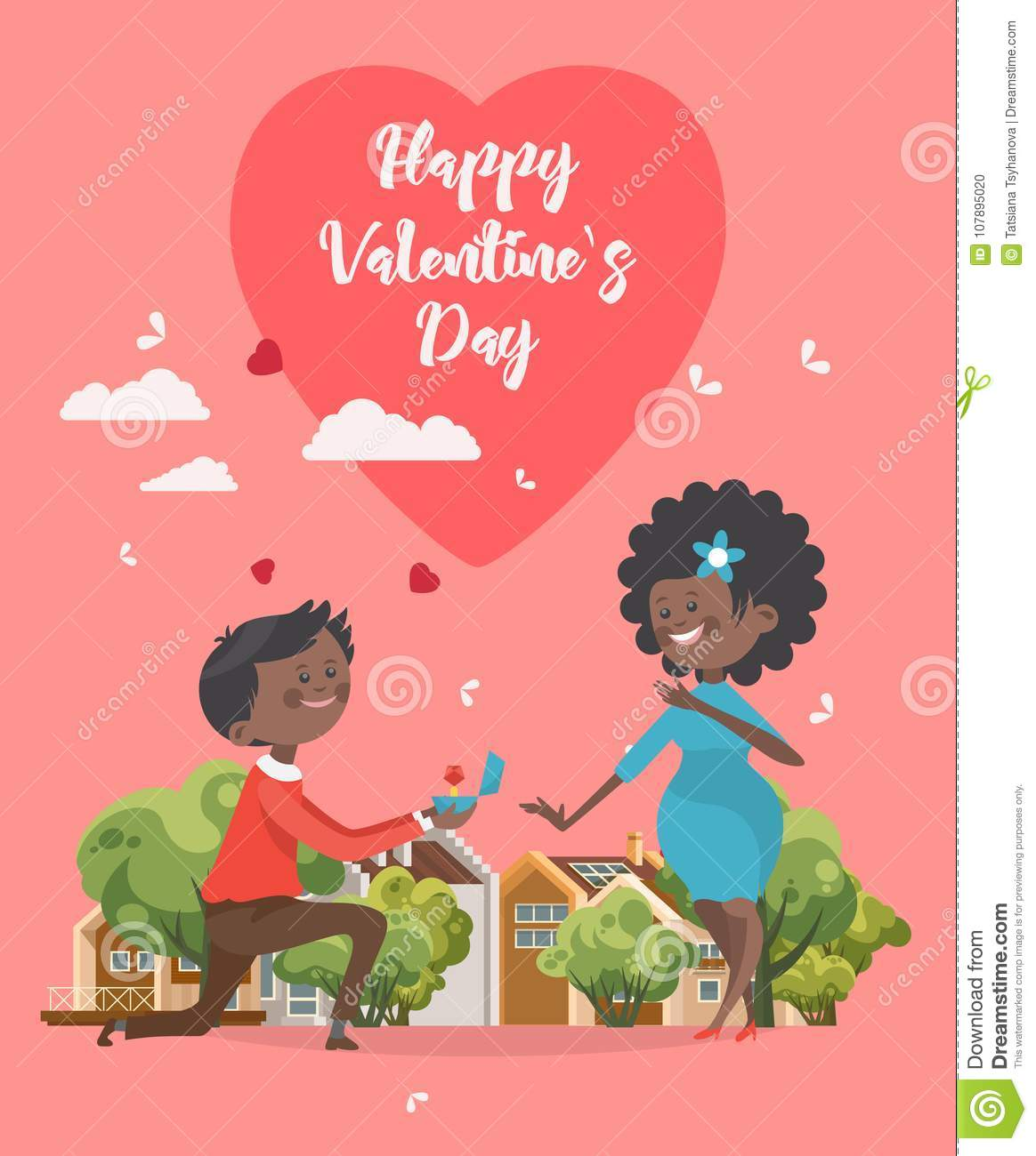 Happy valentines day vector engagement greeting card with african download happy valentines day vector engagement greeting card with african america couple valentine m4hsunfo