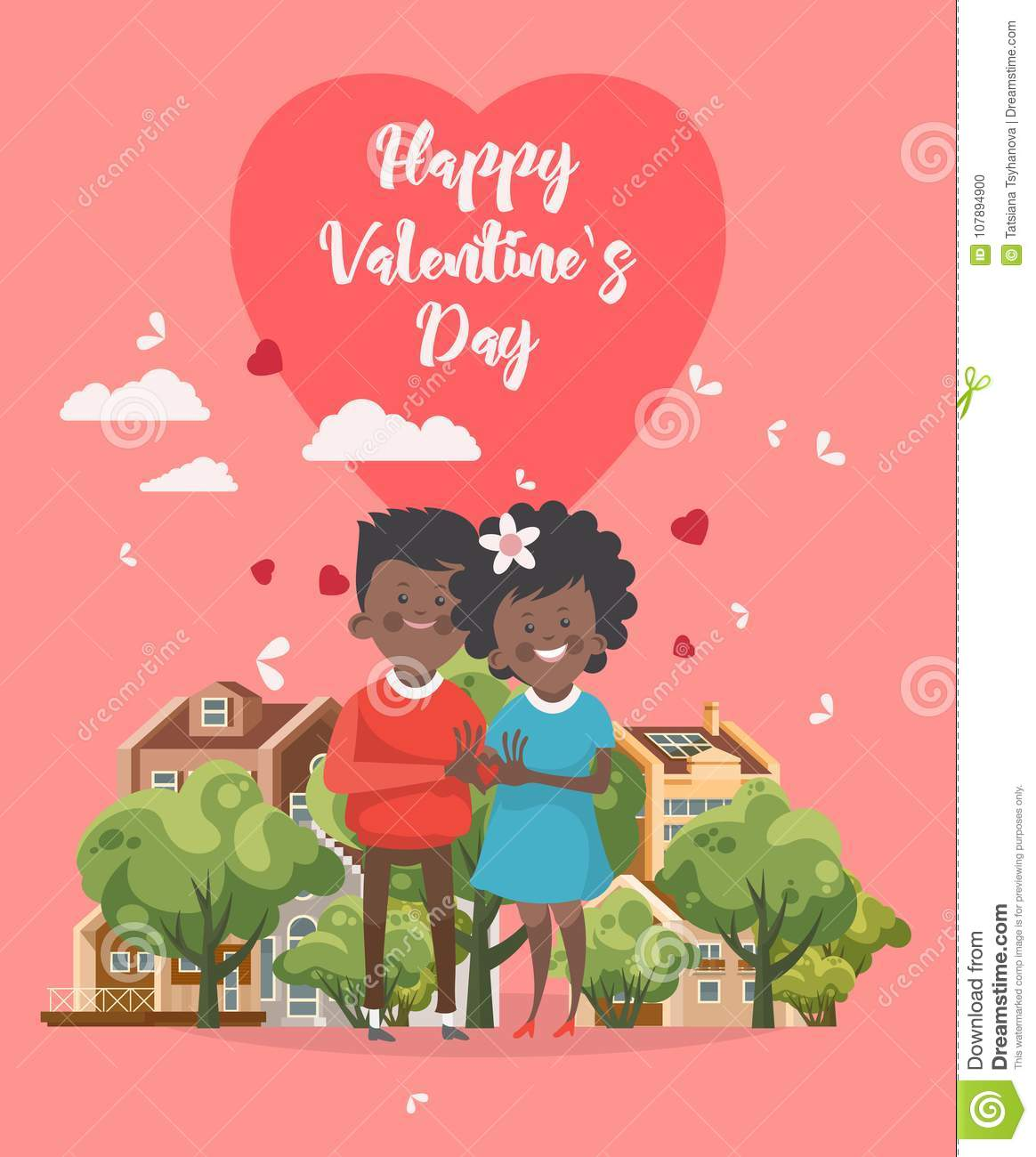 Happy Valentines Day Vector Greeting Card With African America