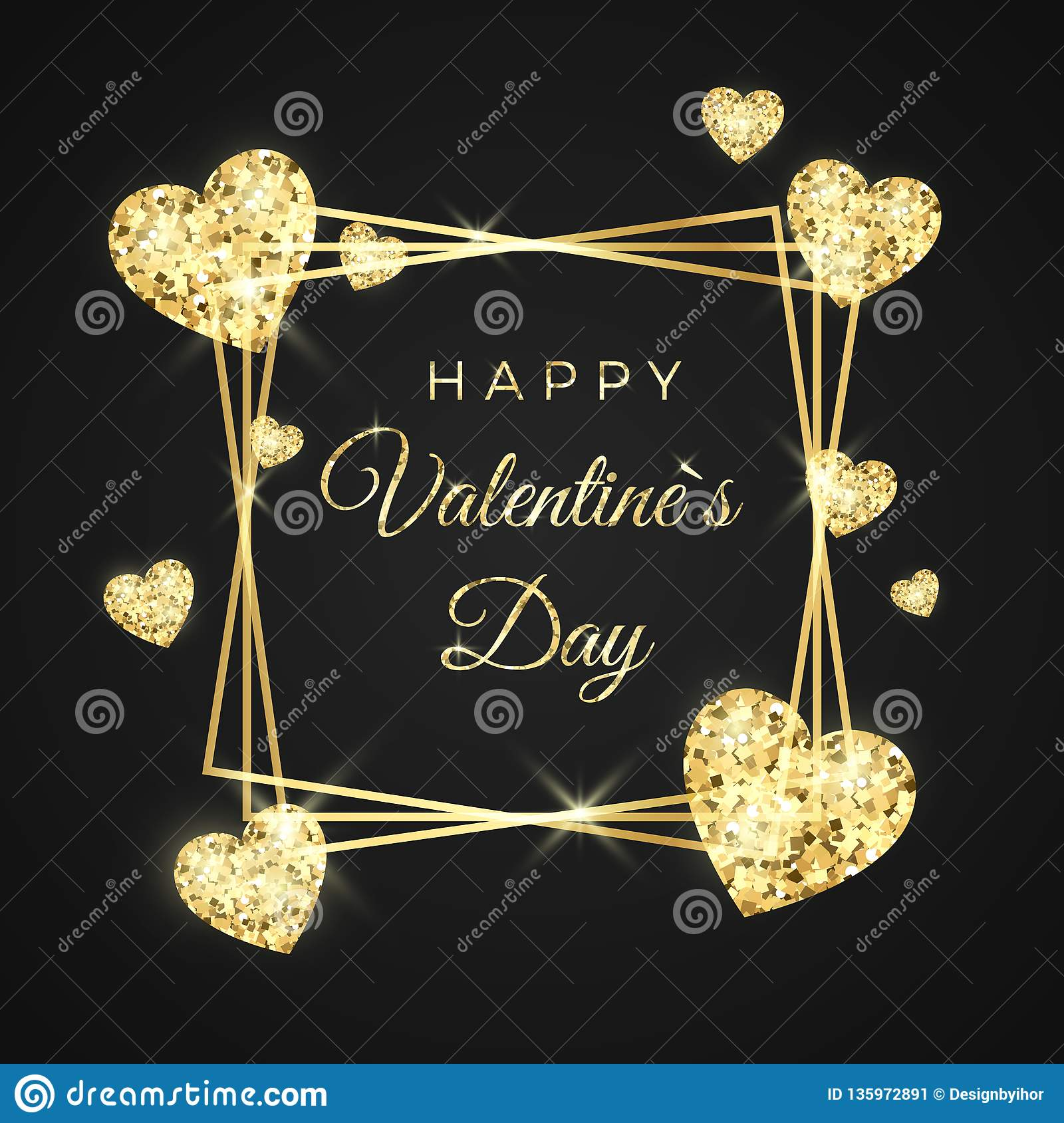 Happy Valentines day vector greeting card. Golden frame, heart and text on black background. Gold holiday banner.