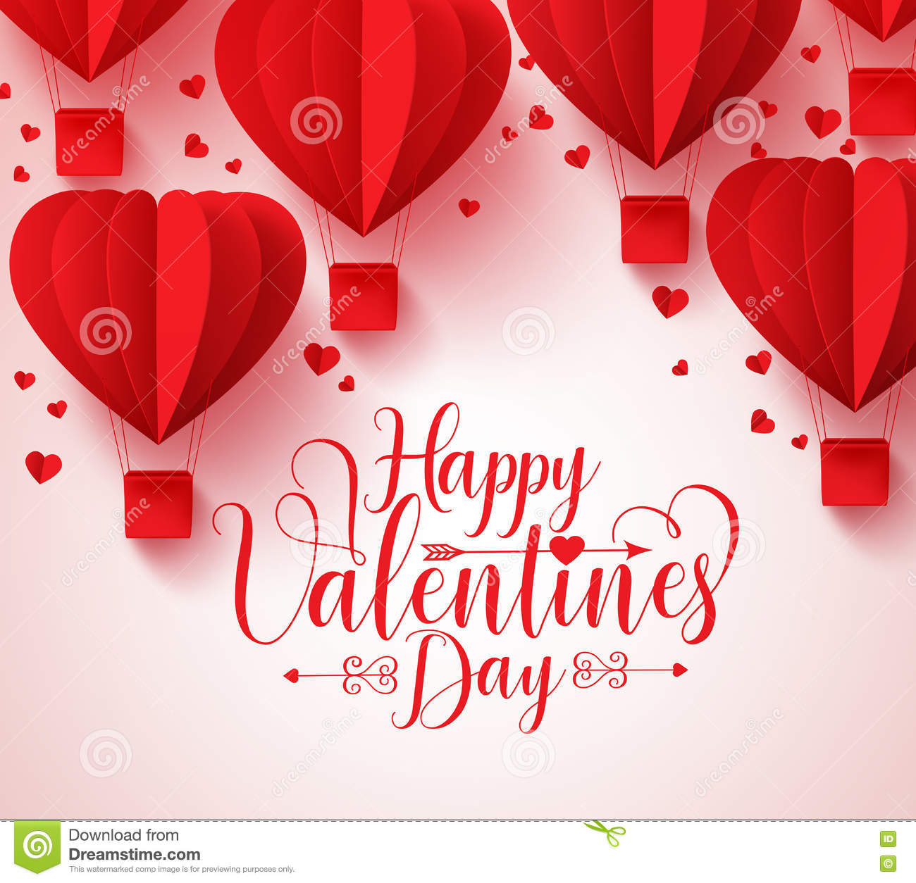 Happy Valentines Day Vector Greetings Card Design With Paper Cut Red
