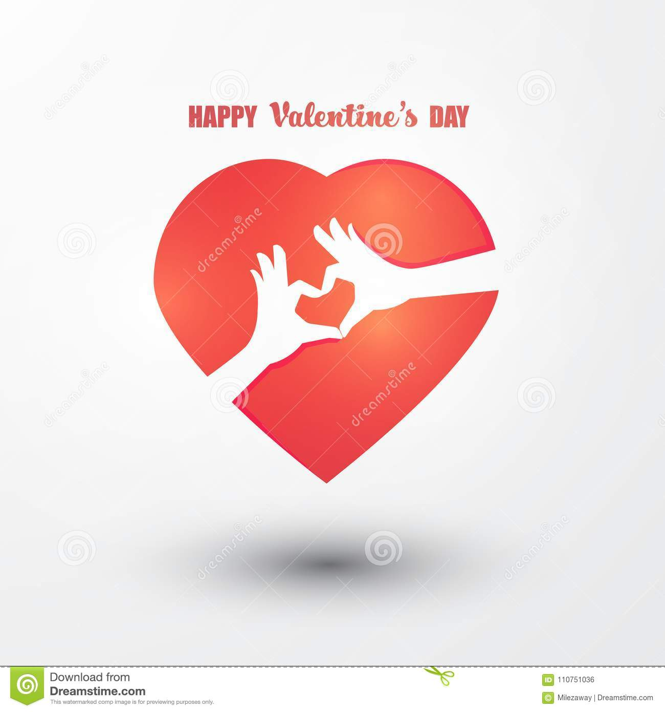 Happy Valentines Day Vector Greetings Card Design With Two Hands