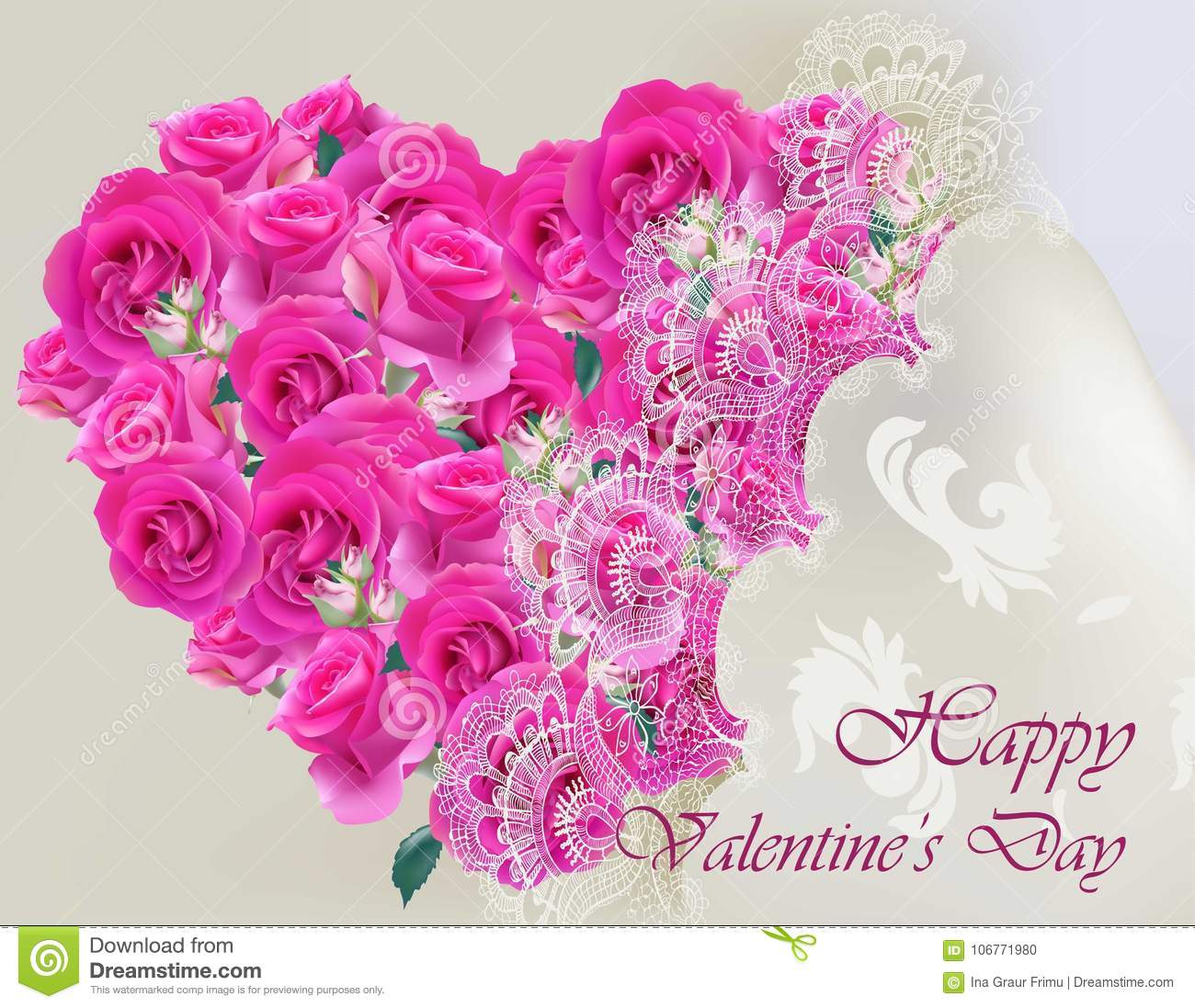 Happy Valentines Day Vector Realistic Card With Pink Roses Heart