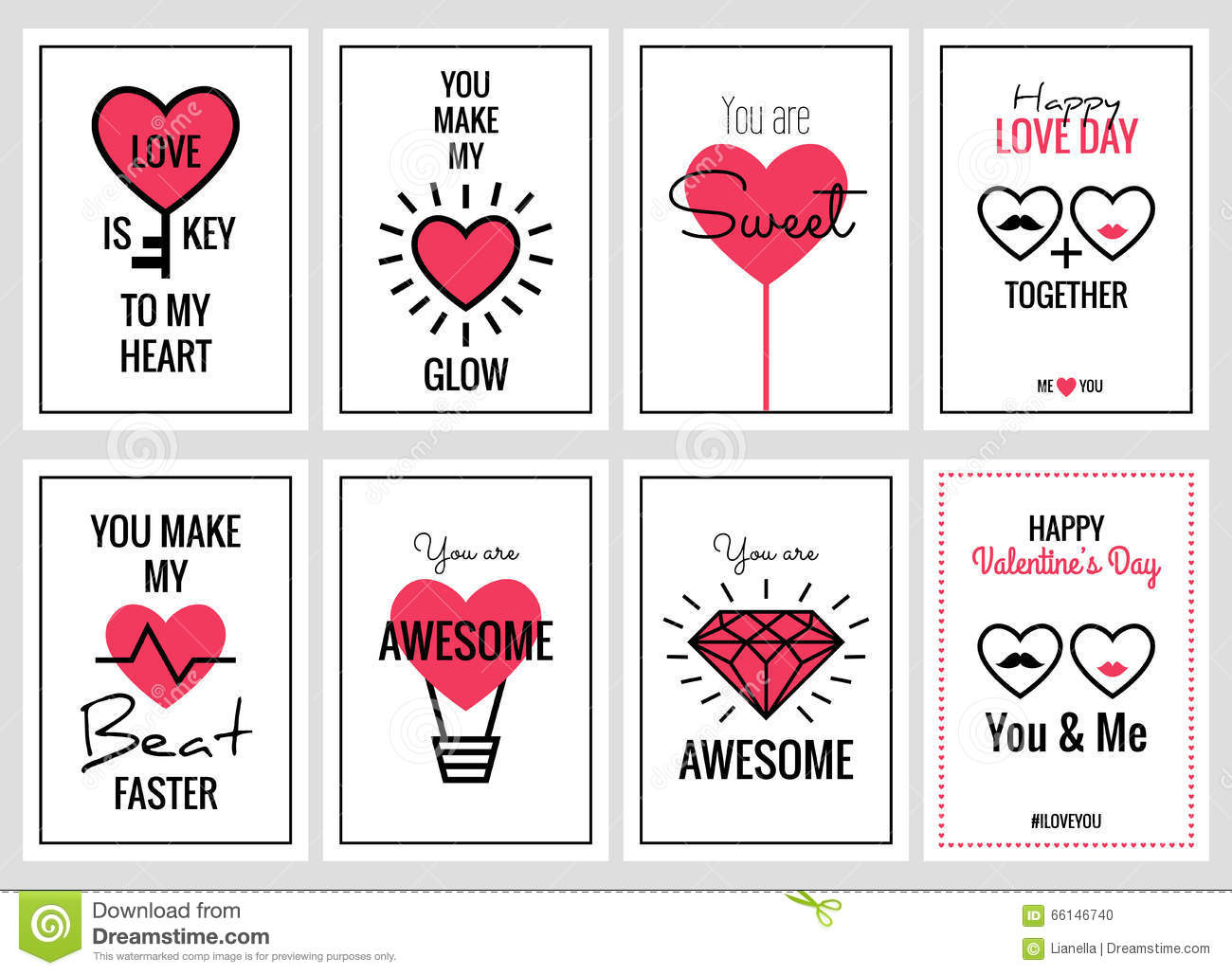 Happy Valentines Day Or Wedding Cards Set Stock Vector - Image ...