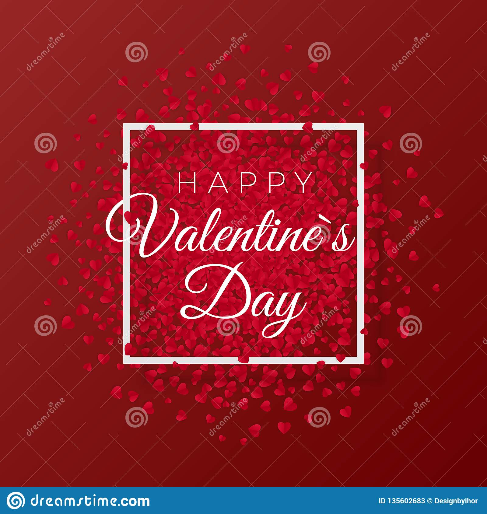 Happy valentines day and weeding romantic design elements. Red background with hearts ornament. Vector illustration