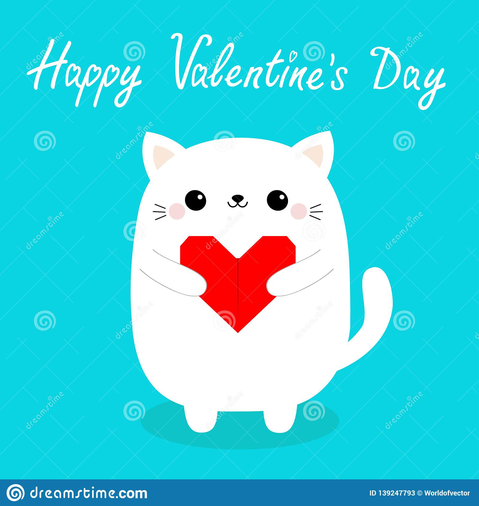 Happy Valentines Day. White baby cat kitten head face holding red origami paper heart. Cute cartoon kawaii funny kitty animal