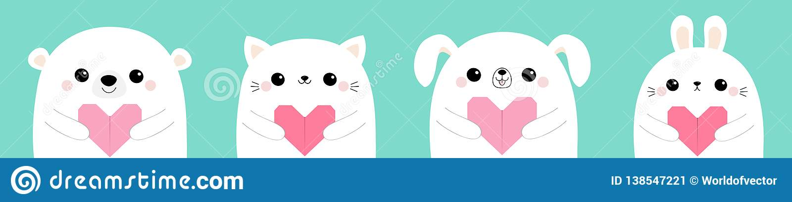 Happy Valentines Day. White bear rabbit hare dog puppy cat kitten head face set holding pink origami paper heart. Cute cartoon