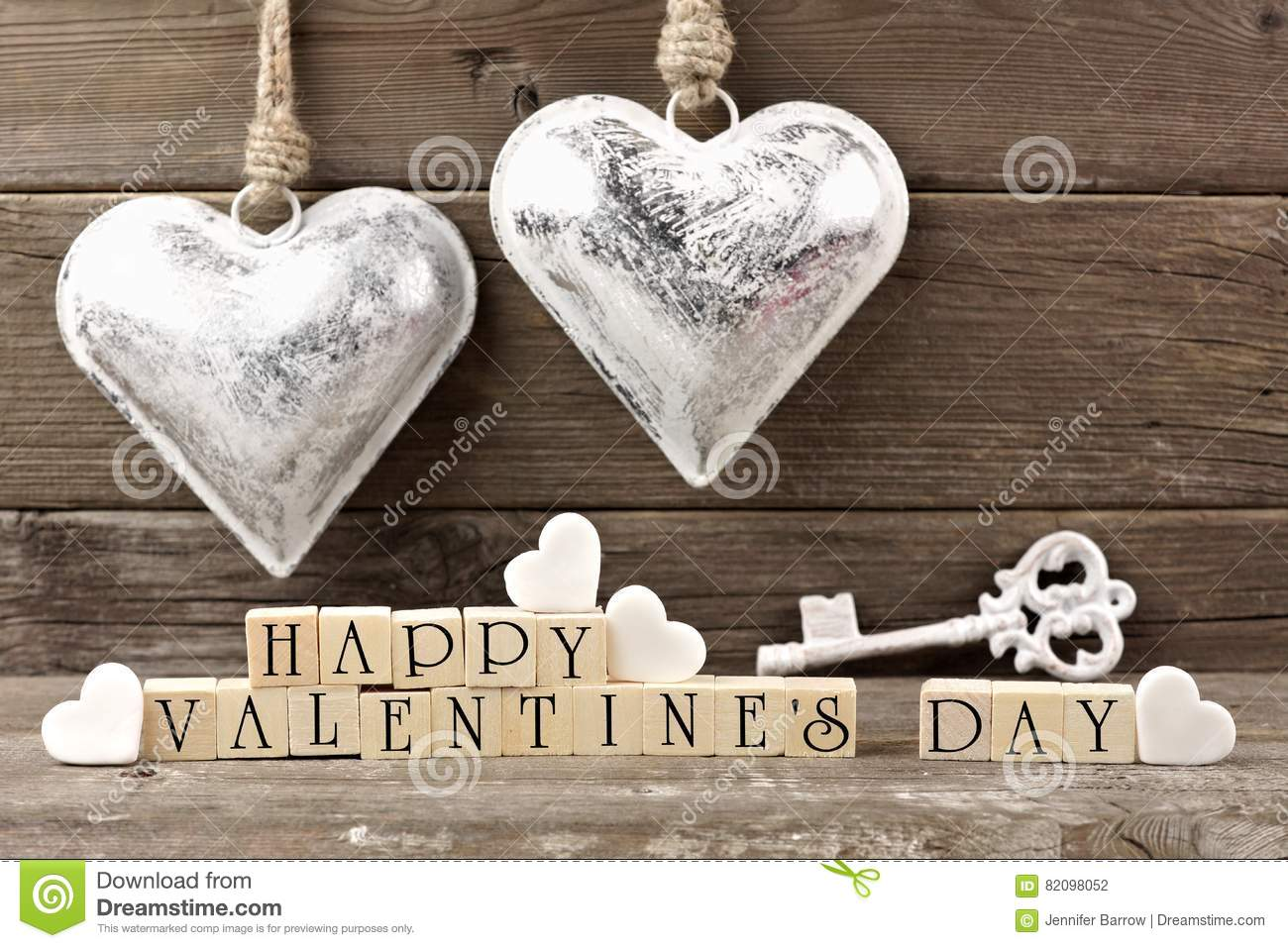 Happy Valentines Day Wooden Blocks With Vintage Decor Against Wood