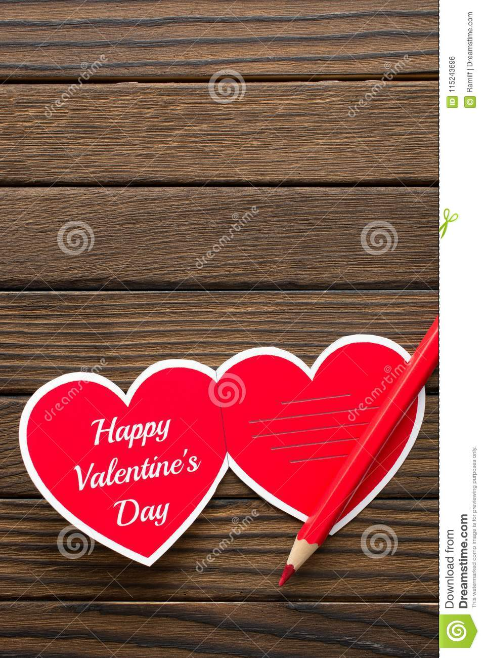 Happy Valentines Day Words On Wooden Background Stock Photo Image