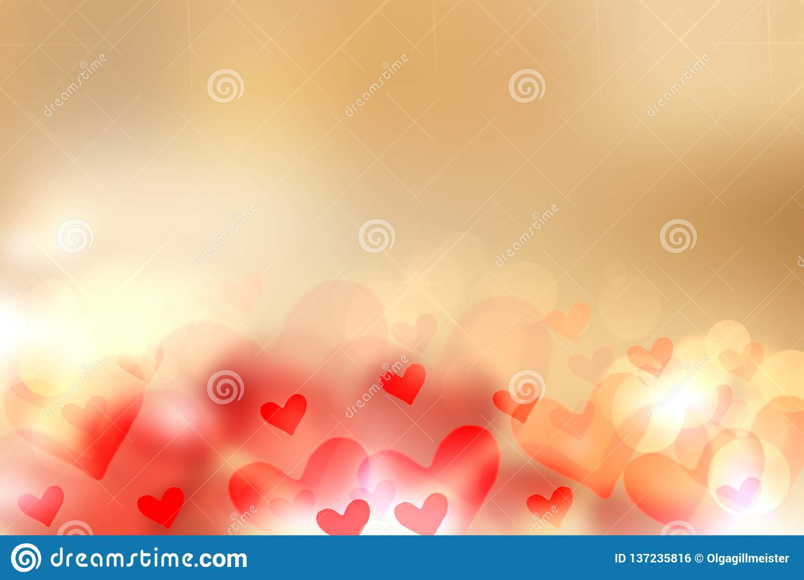 Happy Valentines or wedding day background. Abstract love romantic holiday golden background with red and golden hearts. Template