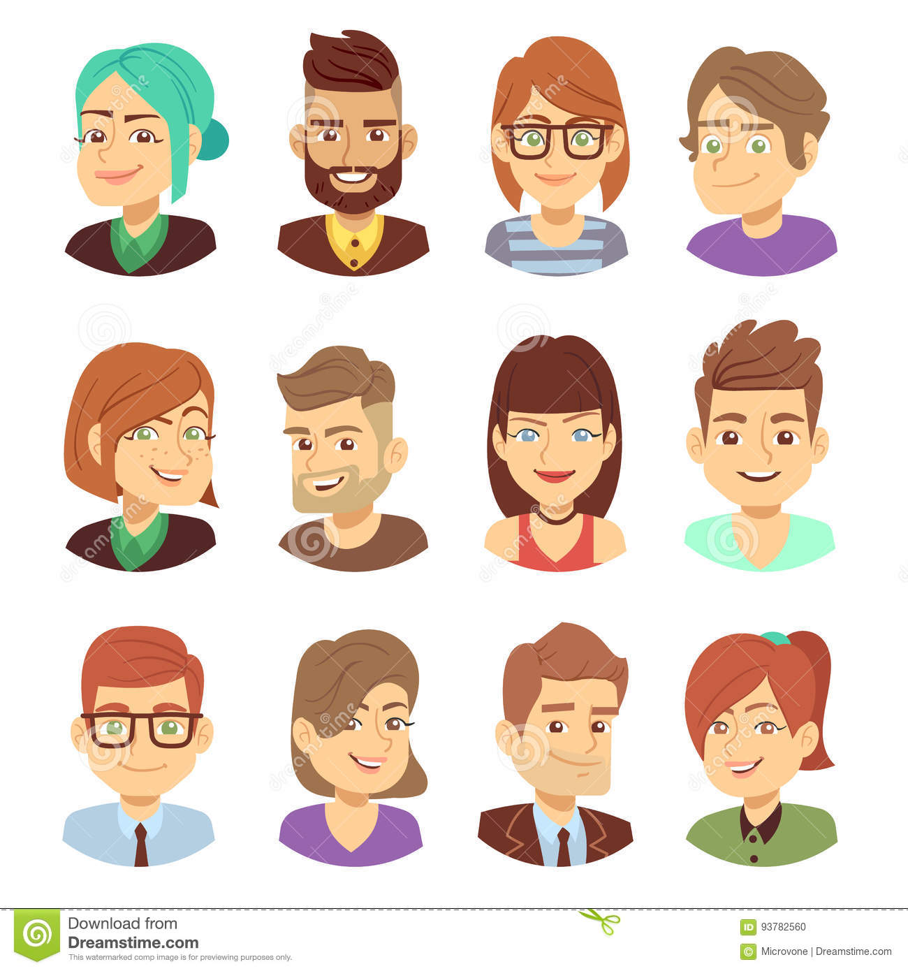 happy vector characters young man and woman smiling faces avatar