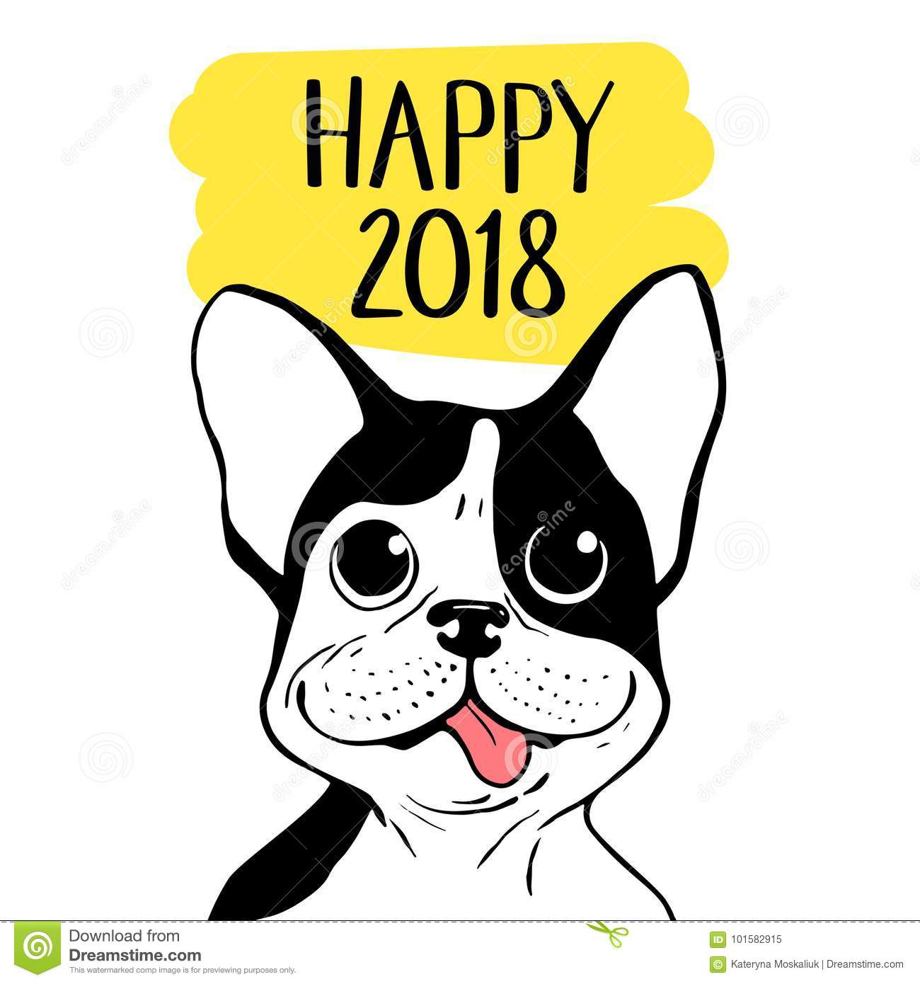 Happy 2018 Vector Illustration With Boston Terrier. Chinese New Year ...